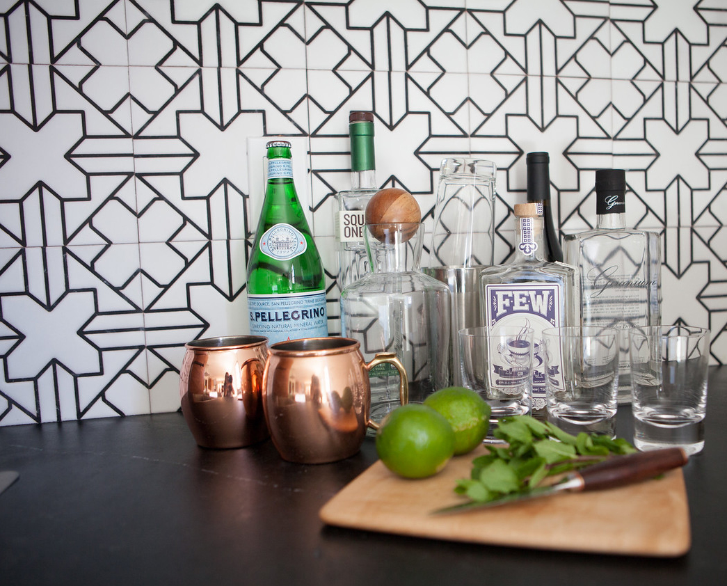 After: A new Bar Area features hand-painted tiles from San Francisco-based Fireclay Tile.