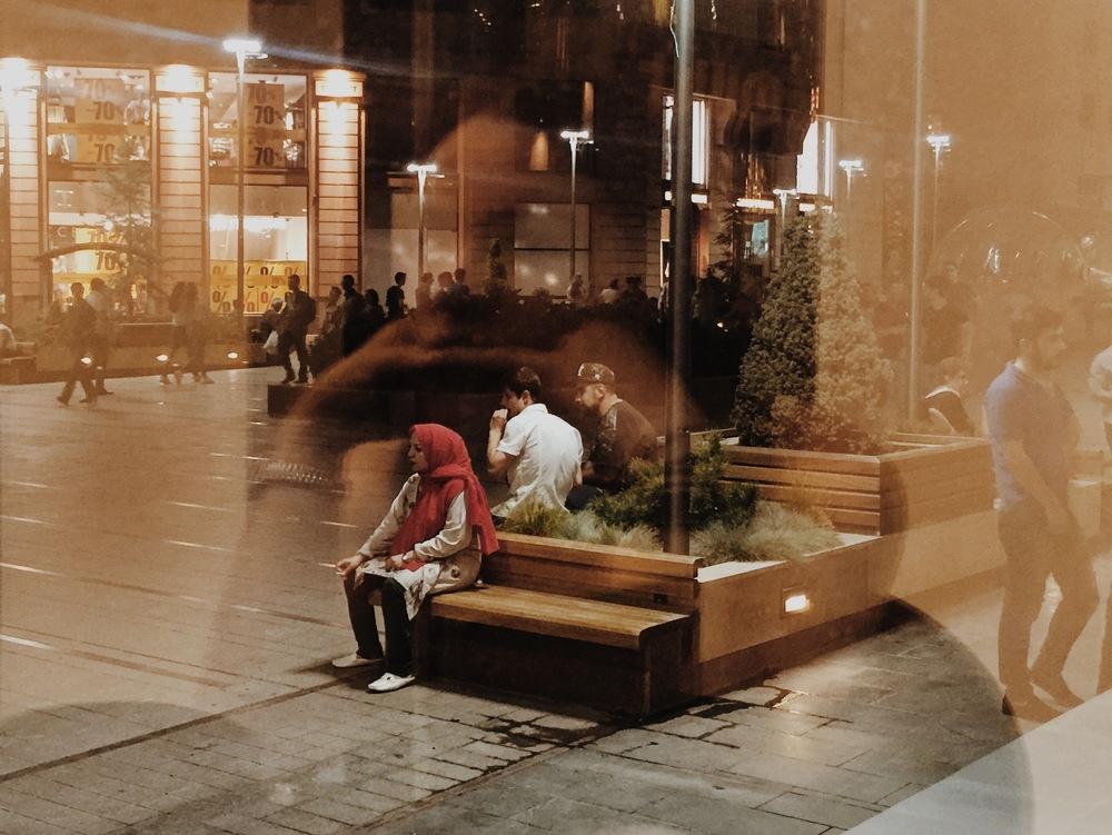 An Iranian tourist taking a smoke break on North Avenue