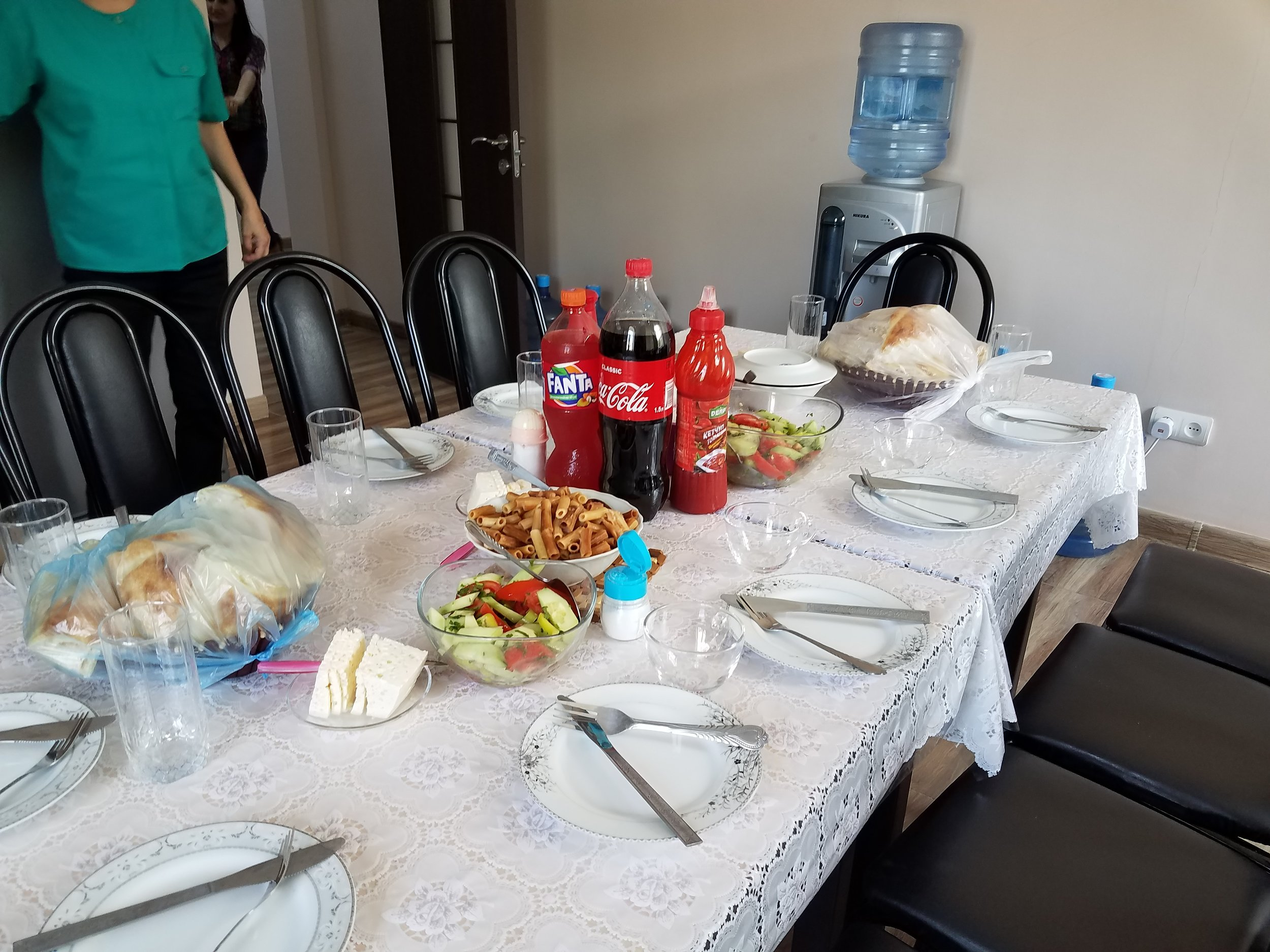 Table set for a homemade dolma lunch by our friends at CCD Noyemberian