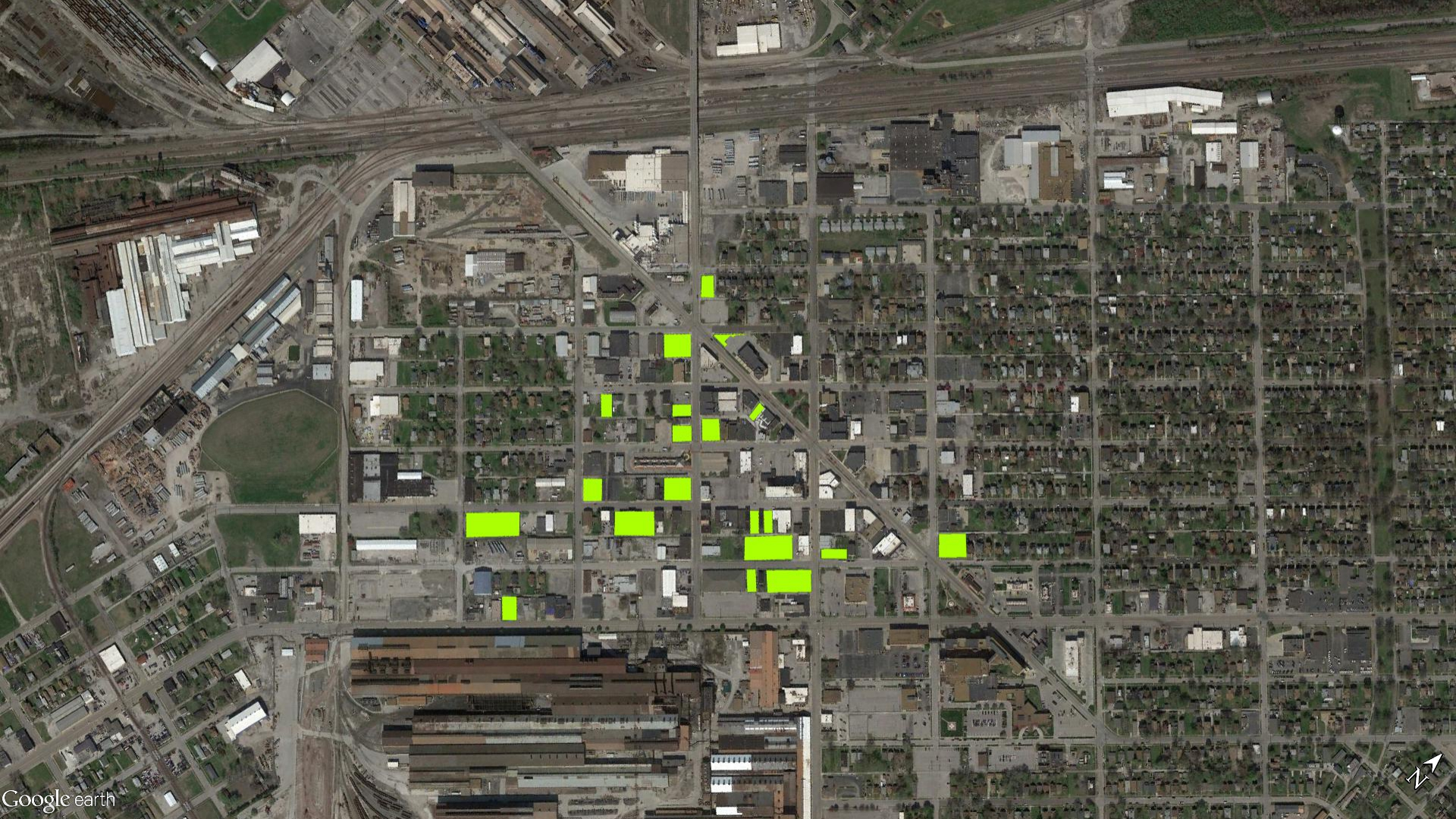 Downtown Granite City, Illinois. Green indicates a selection of empty lots.
