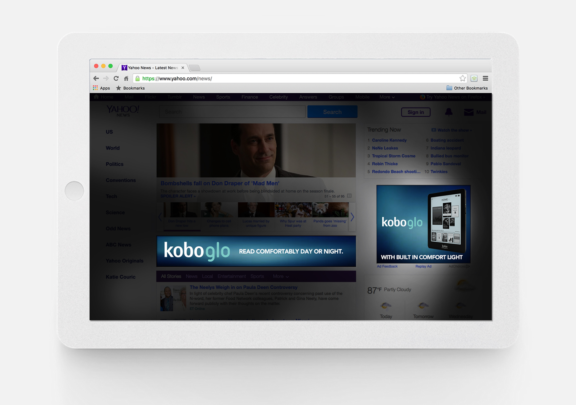Kobo Glo banners light up the page.