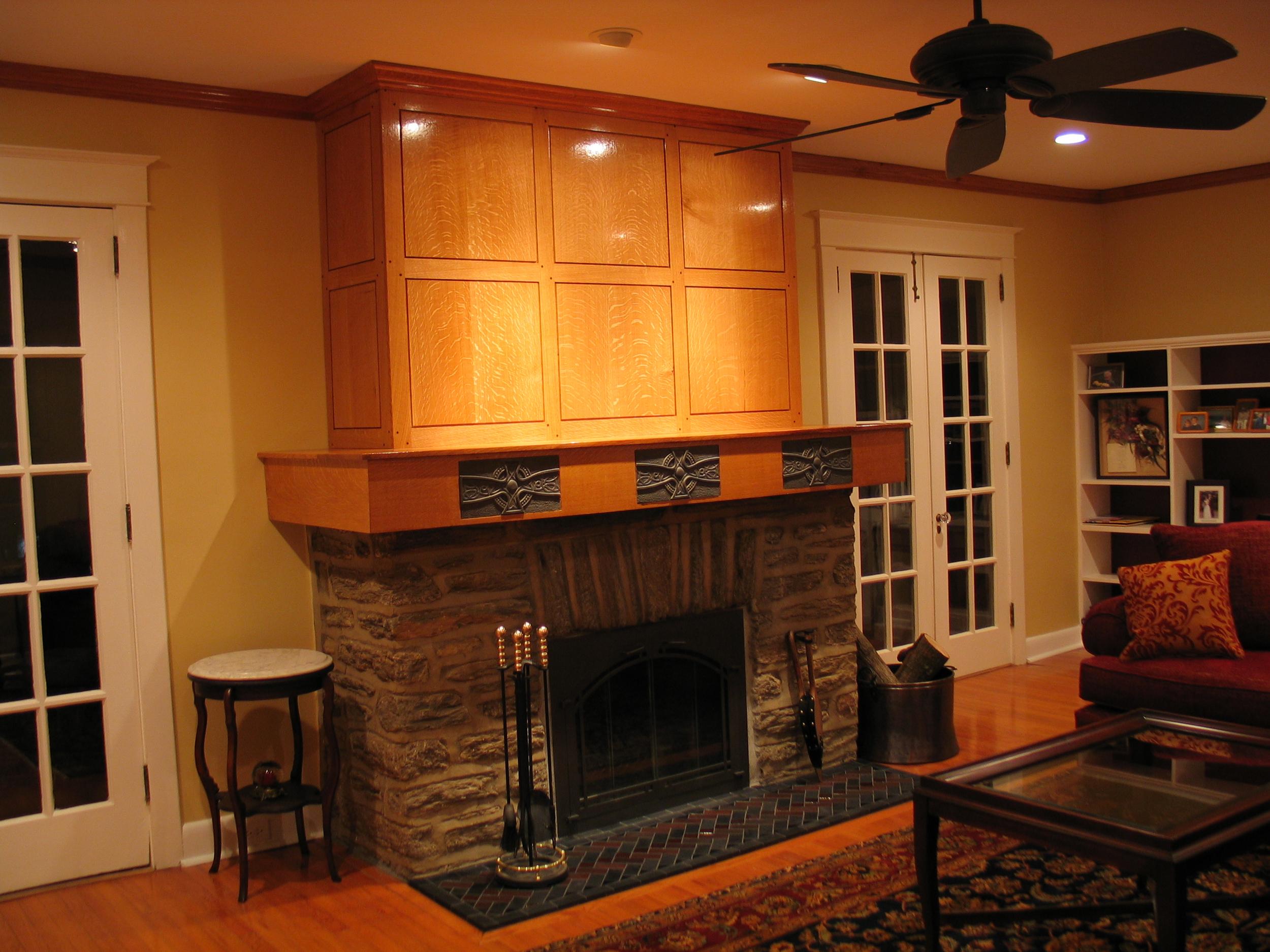 Quarter-sawn White Oak Fireplace and Mantel