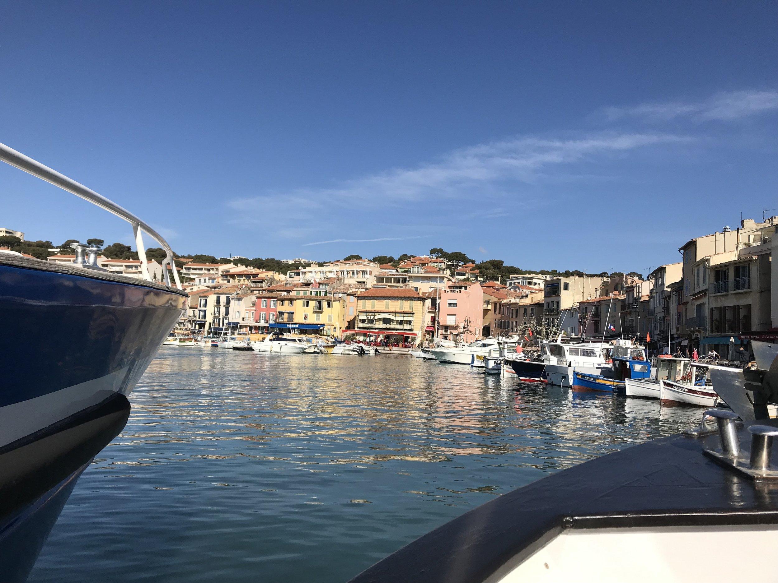 Sailing into Cassis harbor.