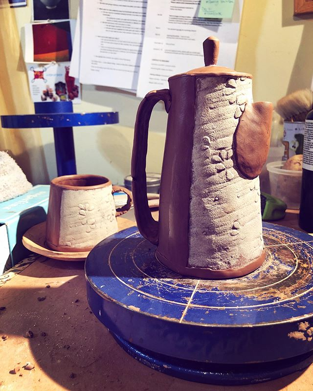 ☕️ Found some time to play today ☕️ • • • • #clay #ceramics #pottery #handmade #madeinnc #828isgreat #coffeepot #mug #coffeelover