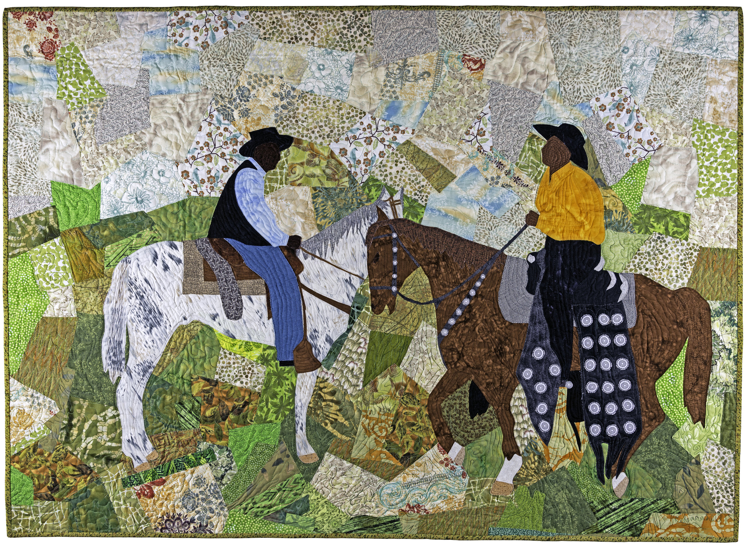 """The artwork for our 36th Gathering Poster is """"Trail Blazers"""" (2013) by quilt artist and National Endowment for the Arts Heritage Fellow, Marion Coleman; from the collection of Arkainee Ervin."""