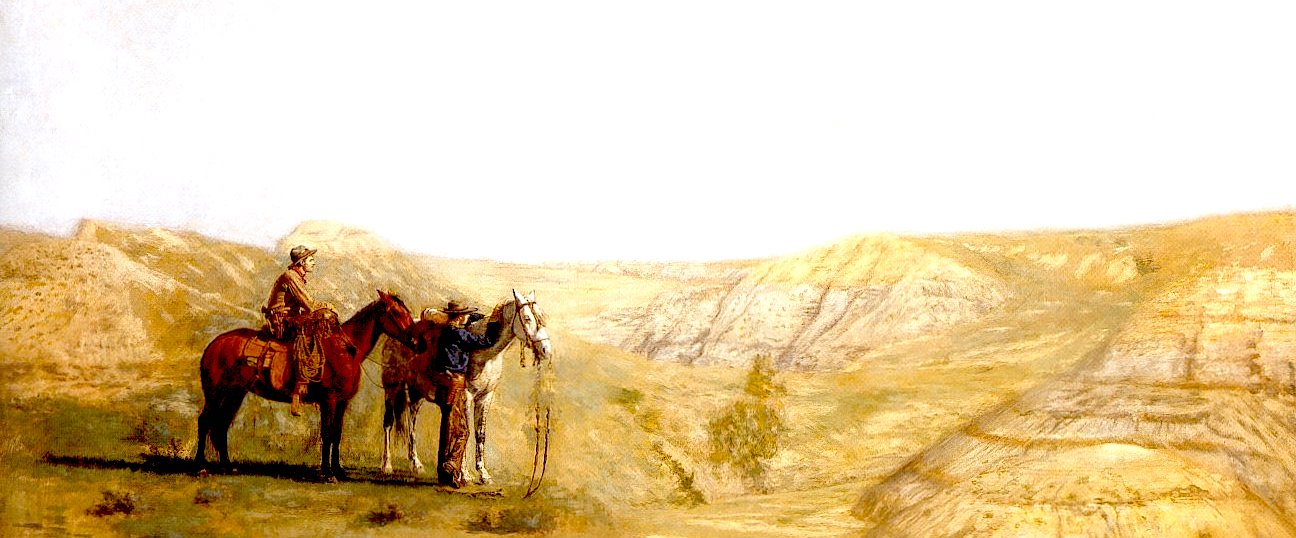 Image altered: Thomas Eakins,  Cowboys in the Bad Lands  (1888)