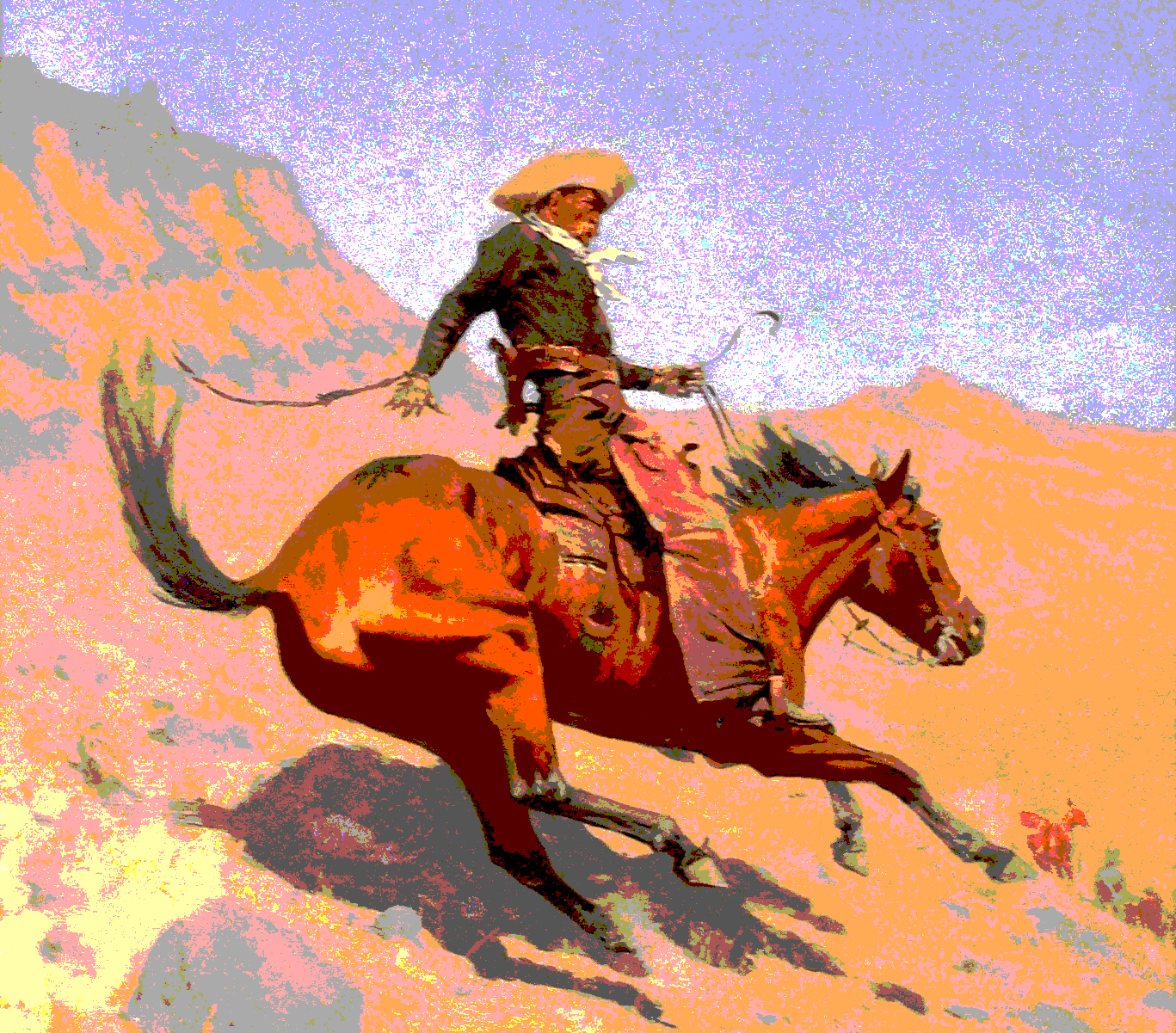 Image altered from: Frederic Remington,  The Cowboy.  1902