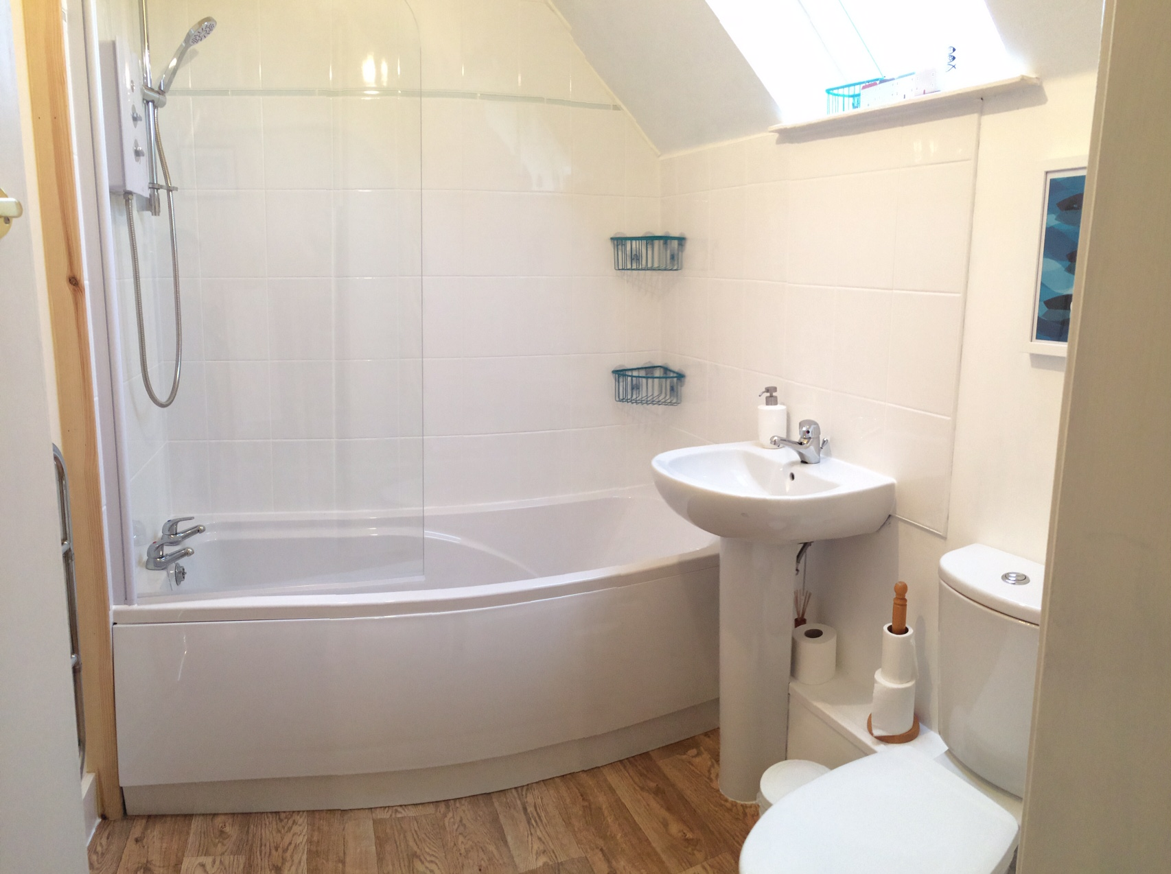 Upstairs bathroom with shower and bath
