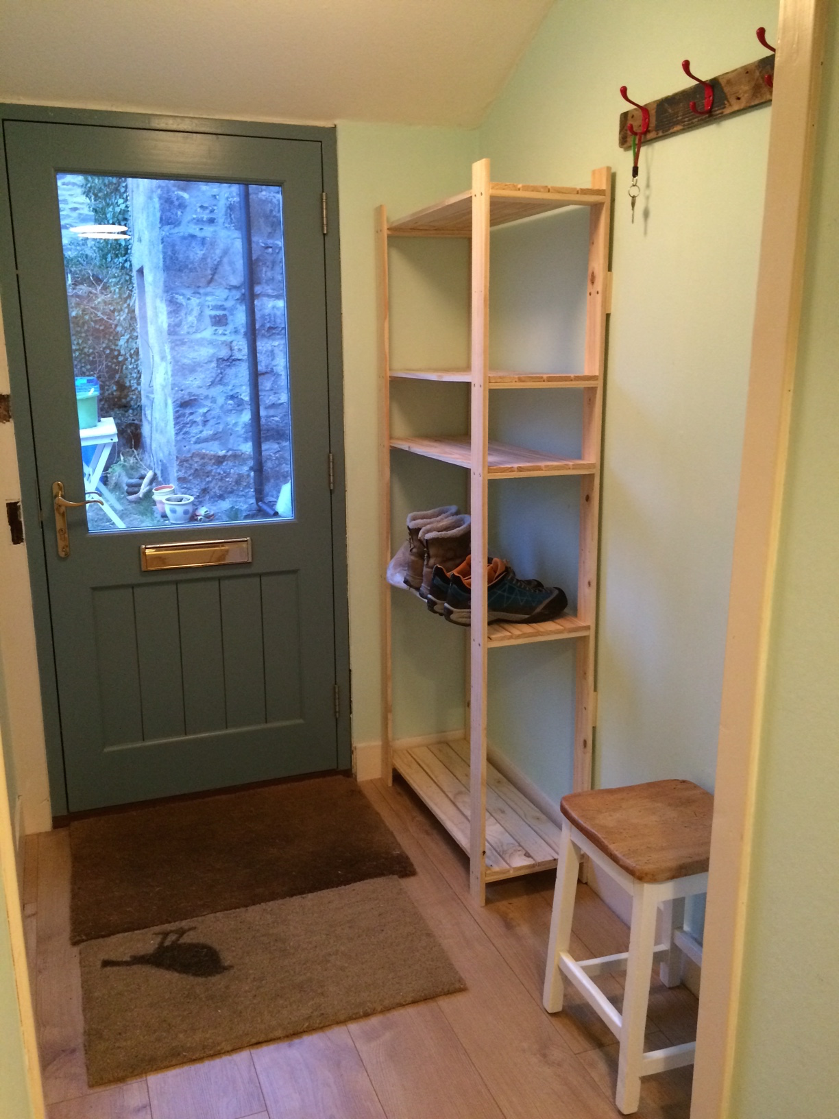 Plenty of space to store boots and jackets in the porch