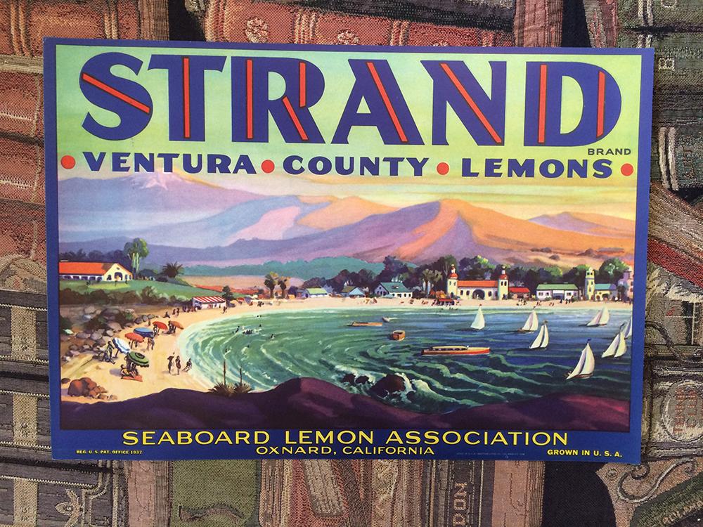 Original fruit crate labels from California