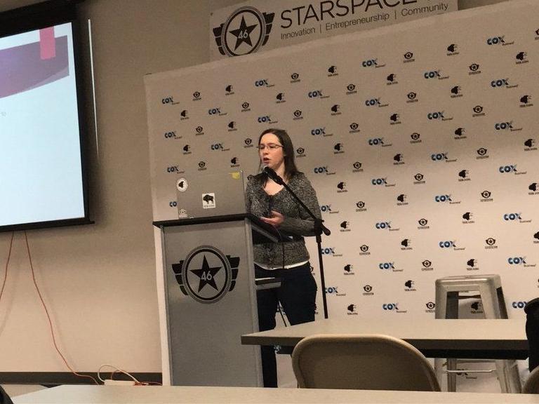 Kristin Ferrier presenting at an OKC.js Lightning Talk