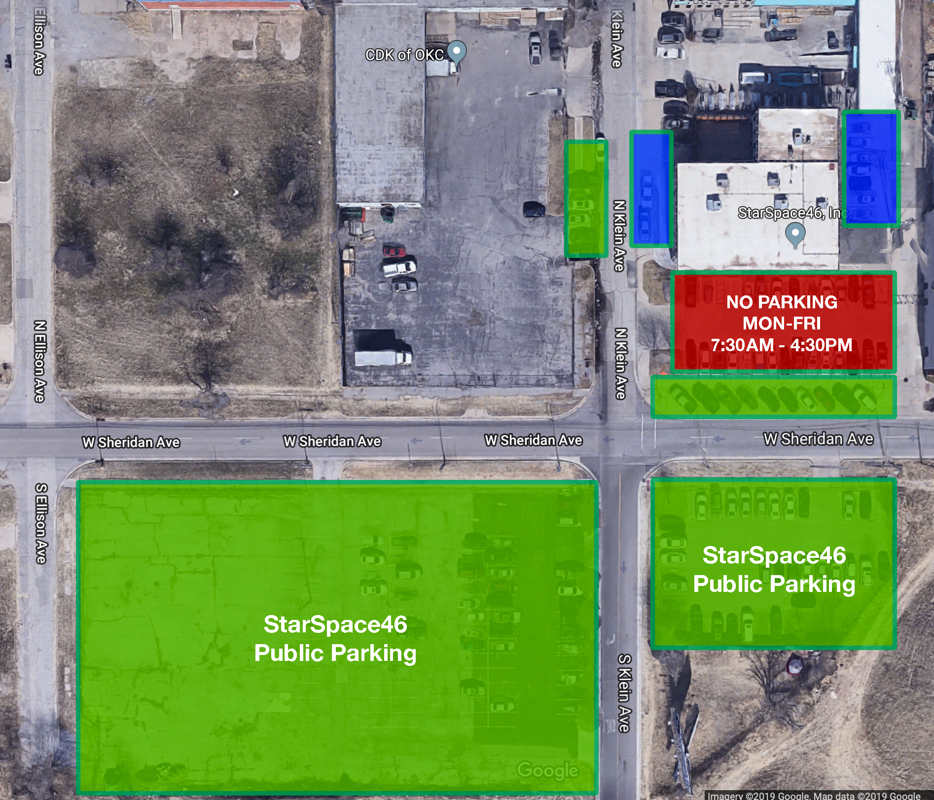 Parking at SS46 - Parking is available 24/7 on the South side of Sheridan Ave. in the large lot catty-corner across the street.You are at risk of tickets/towing if you park directly in front of the SS46 building during the hours of 7:30am - 4pm Monday-Friday.If it's after 4pm M-F, or on the weekends, you are allowed to park in front of the SS46 building.