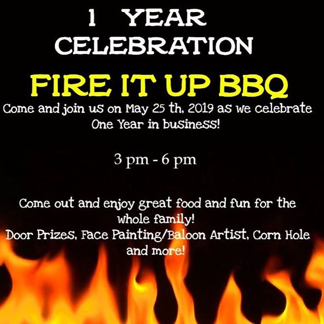 "Hey FB Friends and Family: Well, you only celebrate your first year in business 1 time! We are Kicking up the coals this Saturday May 25th with some food, fun and fellowship. If you're in town drop by anytime, but from 3:00 TIL 6:00 we're having some special activities! Our Food truck will be set up in the parking lot. Corn Hole, Face Painting, Live Music, Door Prizes and an Old Fashion ""Pig Pickin""! Yep..I'll be cooking up a whole hog right out front and center. Come by get you free sample of pulled pork fresh off the hog! Free ice cream for the kids! The restaurant will also be open for regular service as well! Don't miss this! (Photos of Whole Hog compliments of Martins BBQ)"