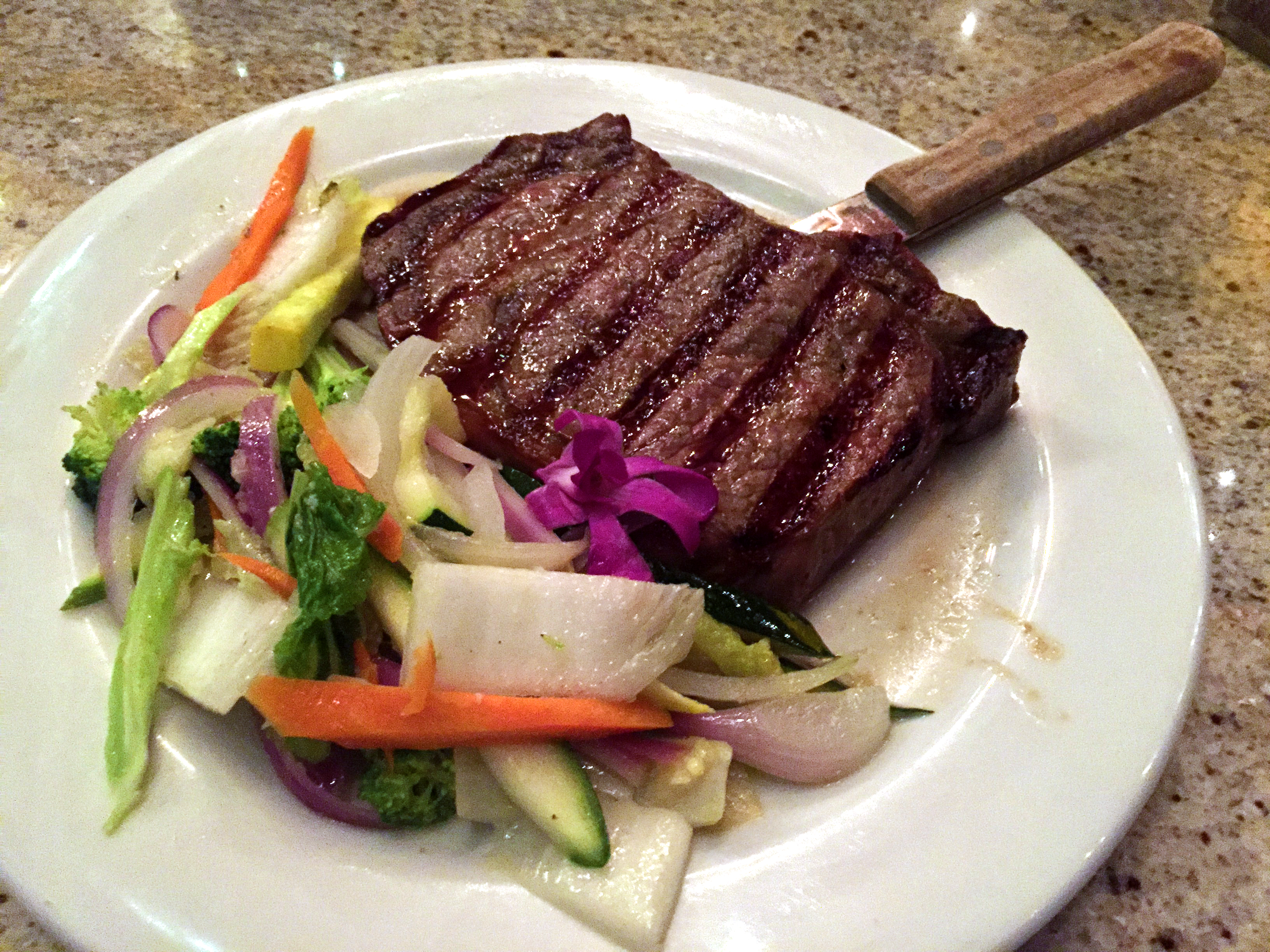 Rib Eye Steak with Local Vegetables at Sam Choy's