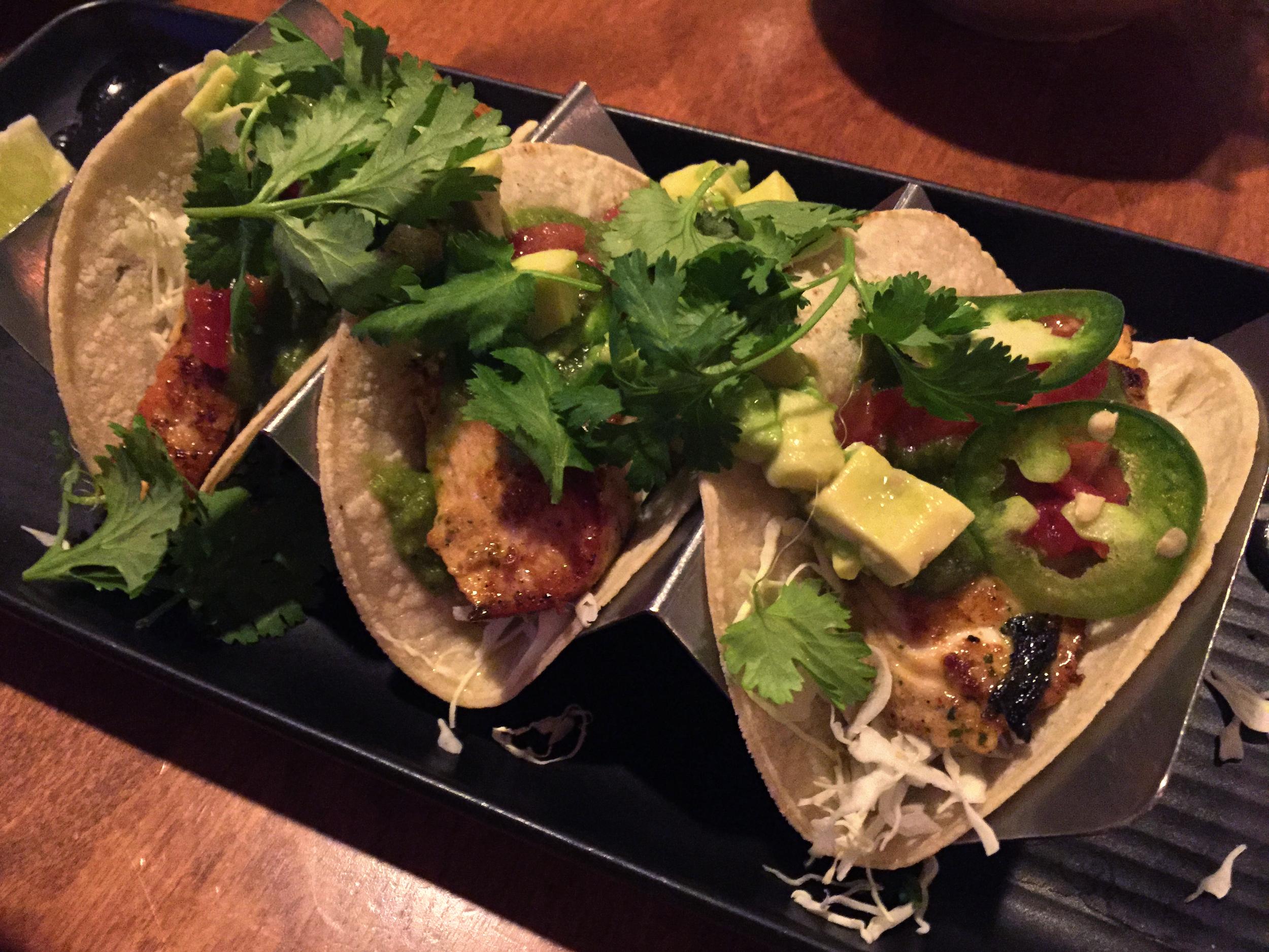 Fresh catch fish tacos on gluten-free corn tortillas from MonkeyPod Kitchen