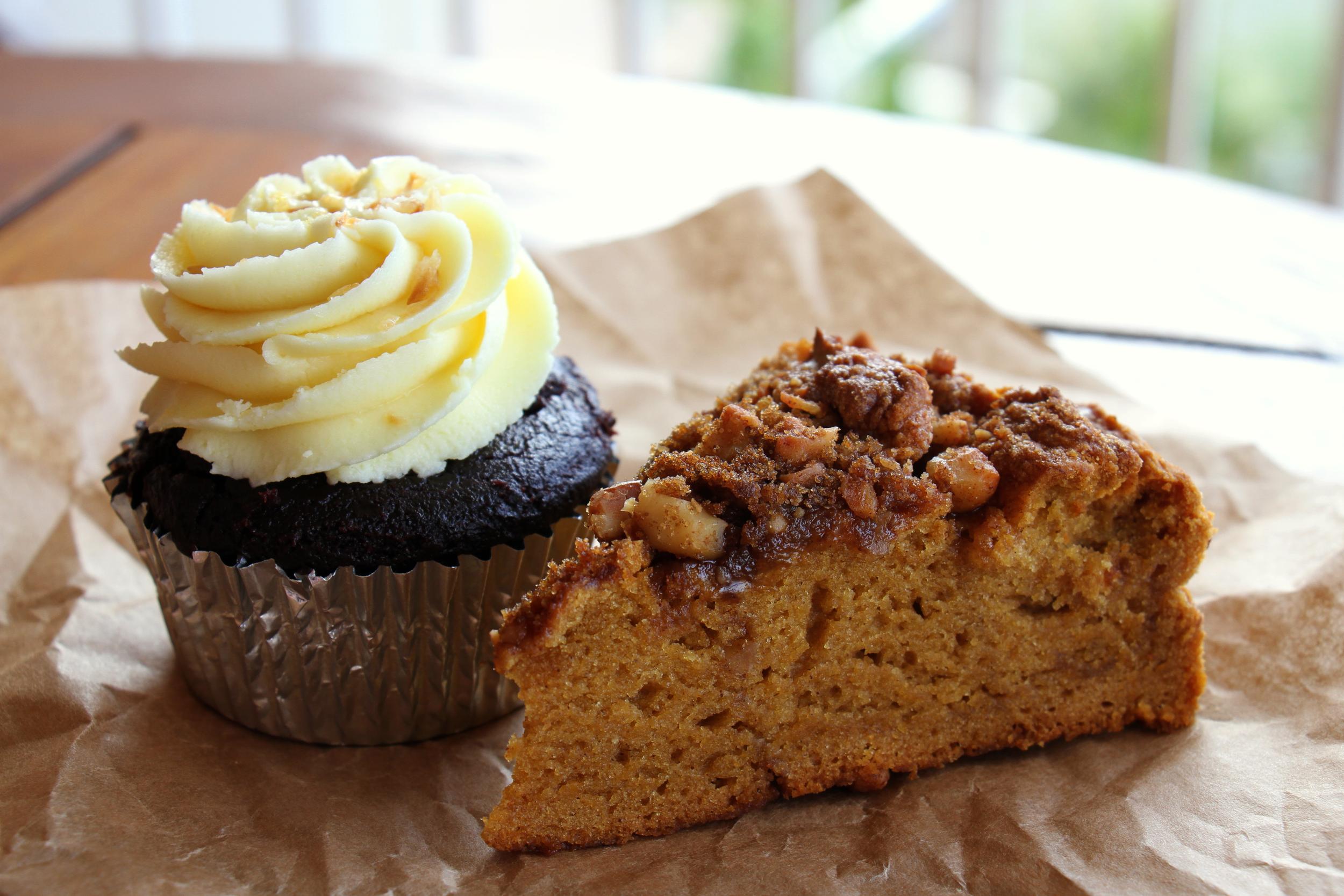Lilikoi cupcake and coffee cake  from Maui Sugar Shop