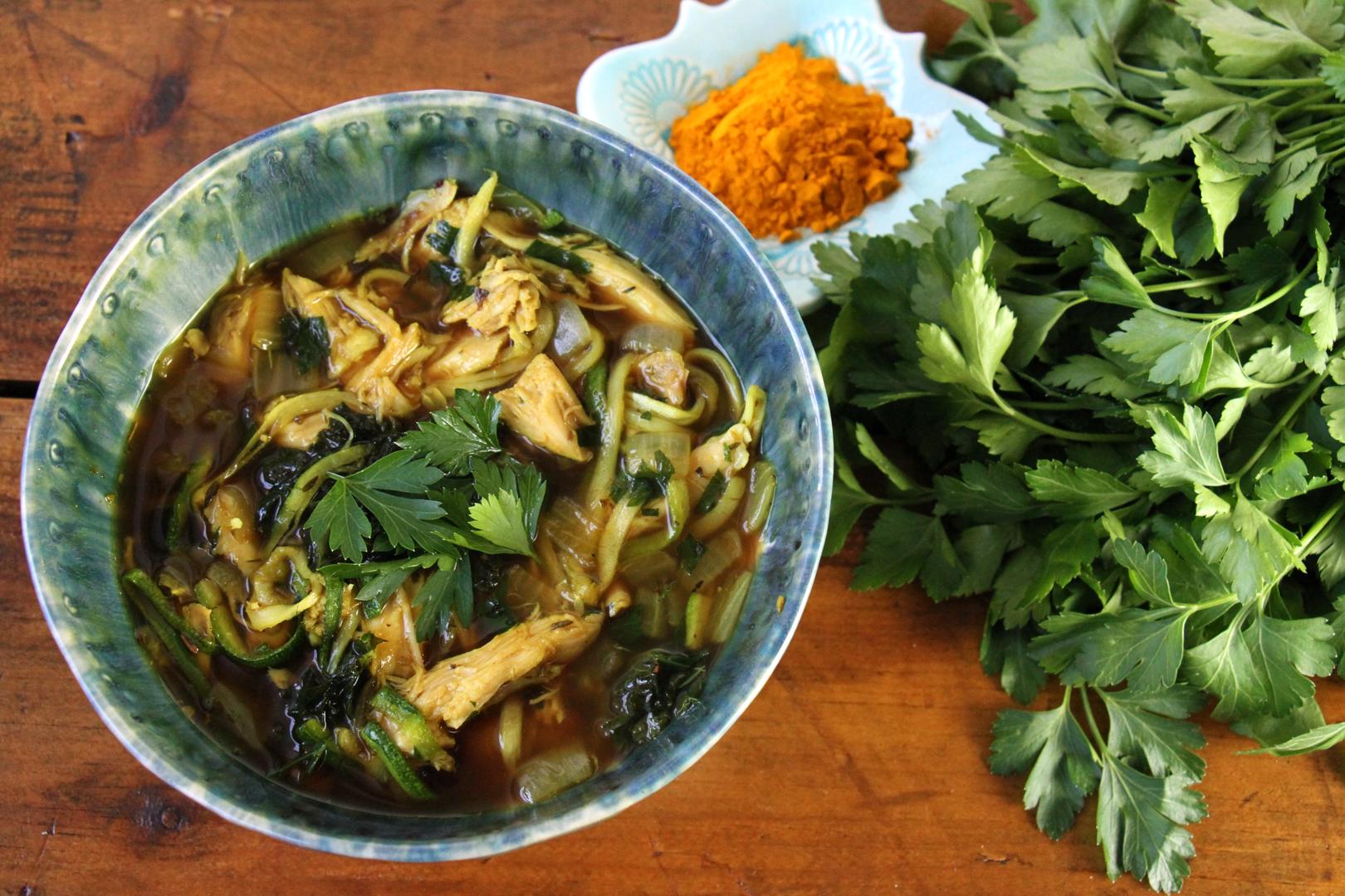 tumeric-chicken-kale-zoodle-soup-paleo