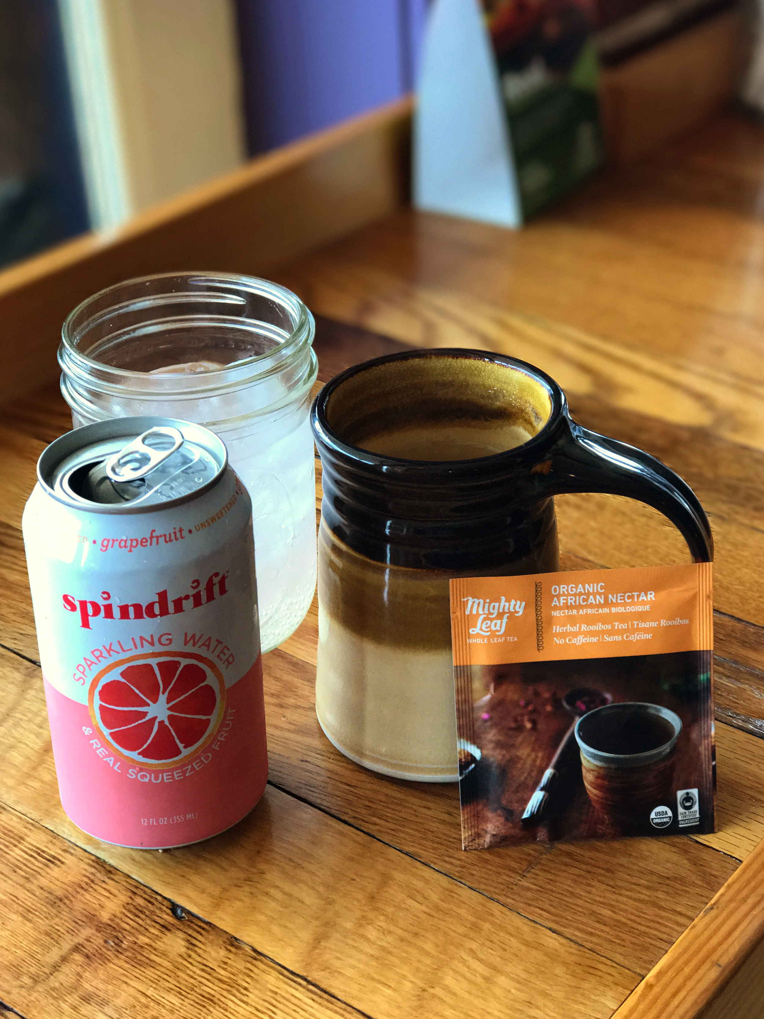Grapefruit Spindrift and Organic African Nectar Tea from The Purple Fiddle