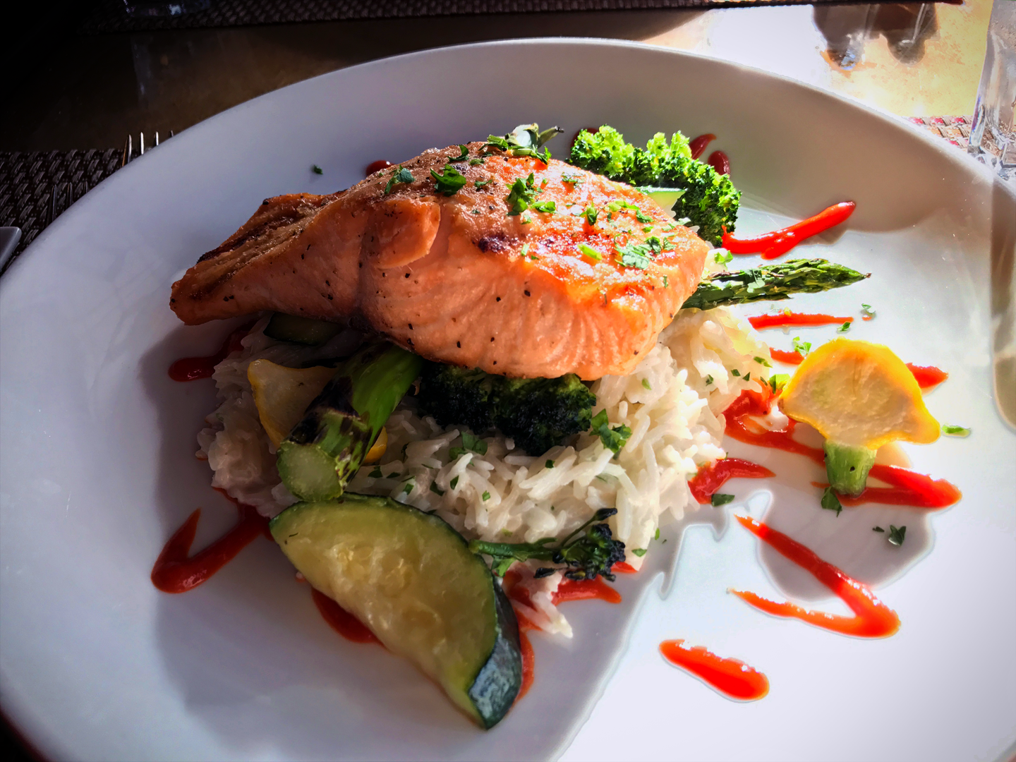Grilled salmon from Aussie and the Fox