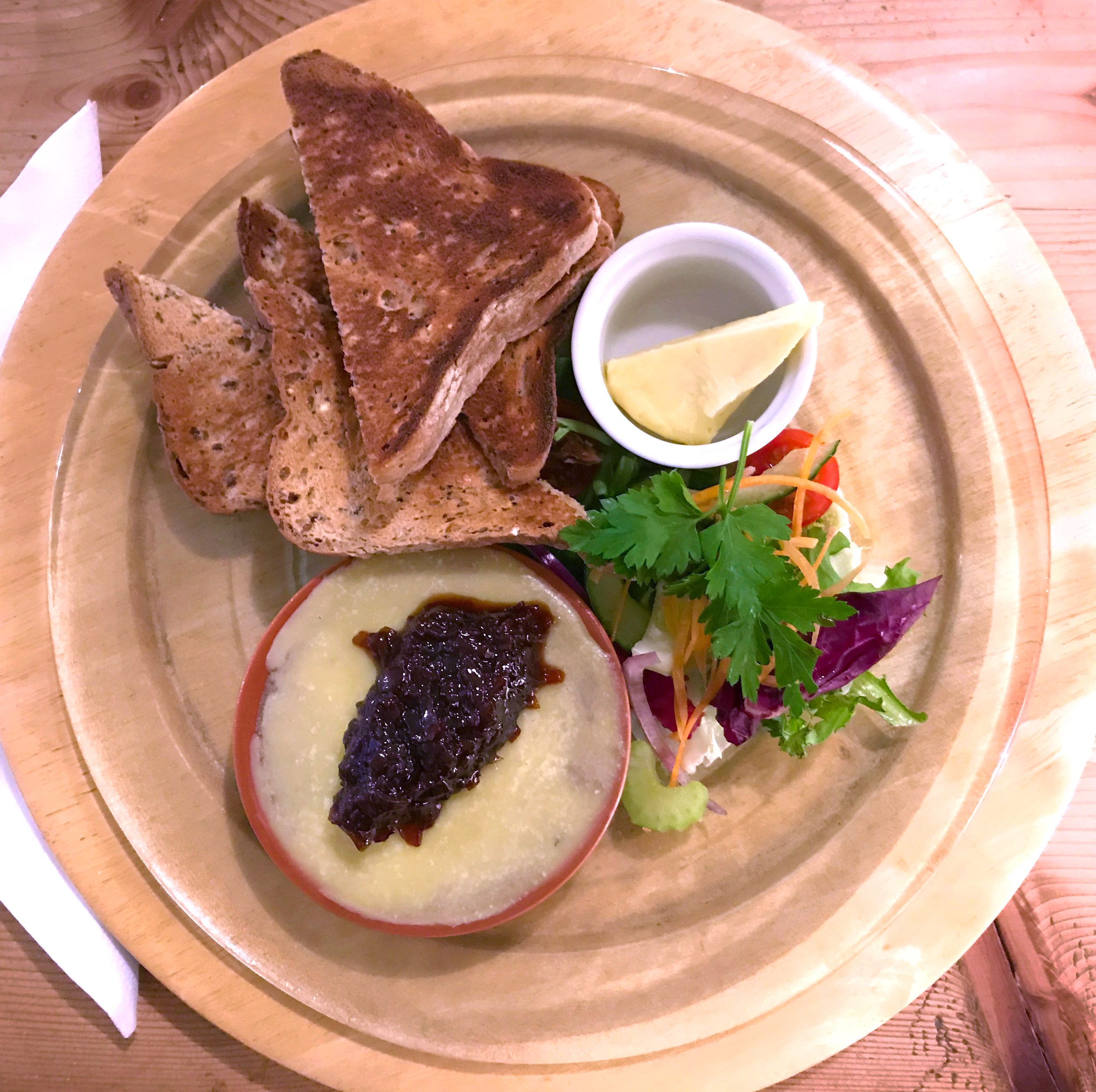 Chicken liver and bacon pâté with gluten-free toast and salad from Amelies Cafe in Conwy, Wales. Yes, that's jam on top and yes it was delicious!