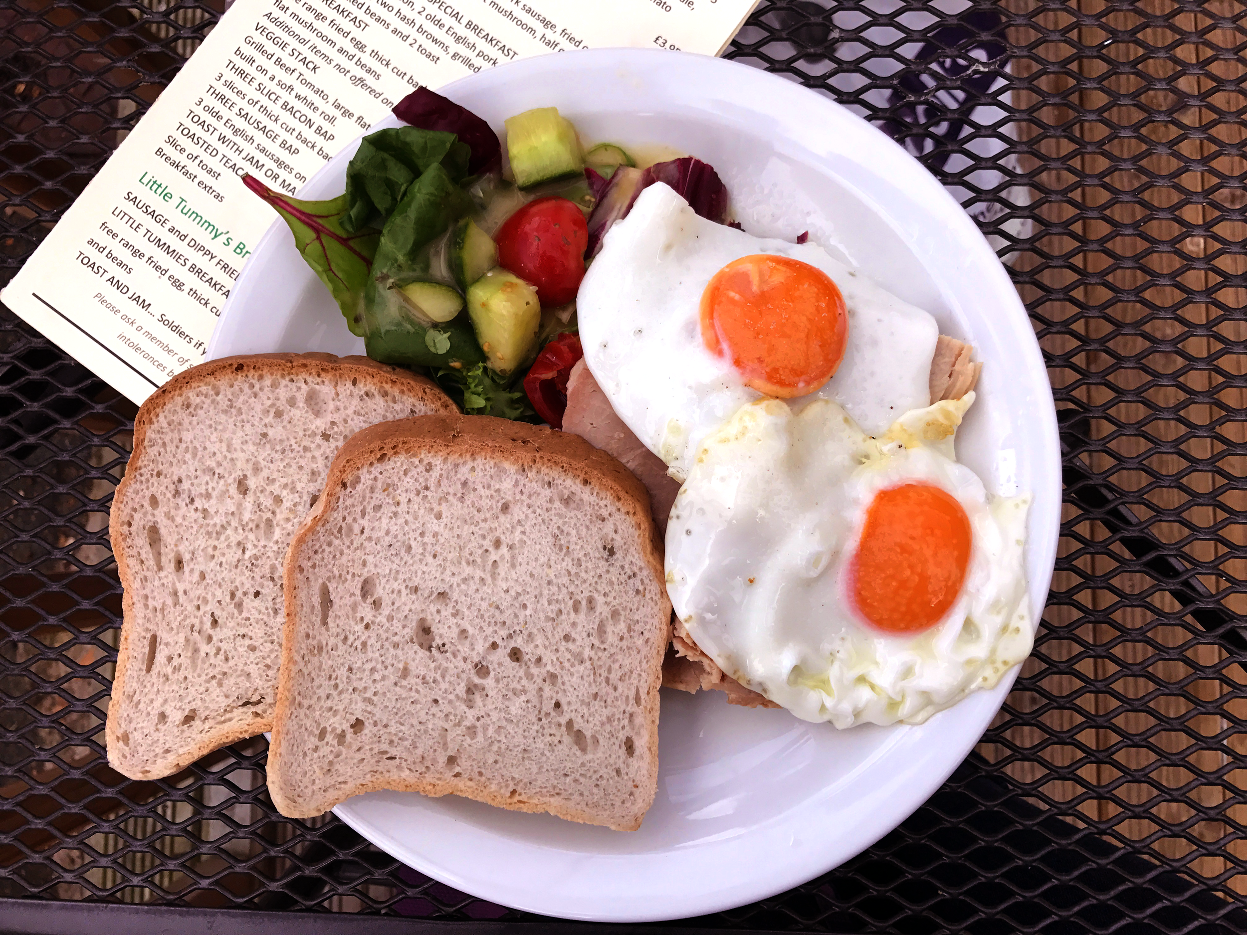 Maple, Mustard, and Apple glazed ham with local eggs and gluten-free bread from Sun Lounge Cafe in Port Sunlight, England.