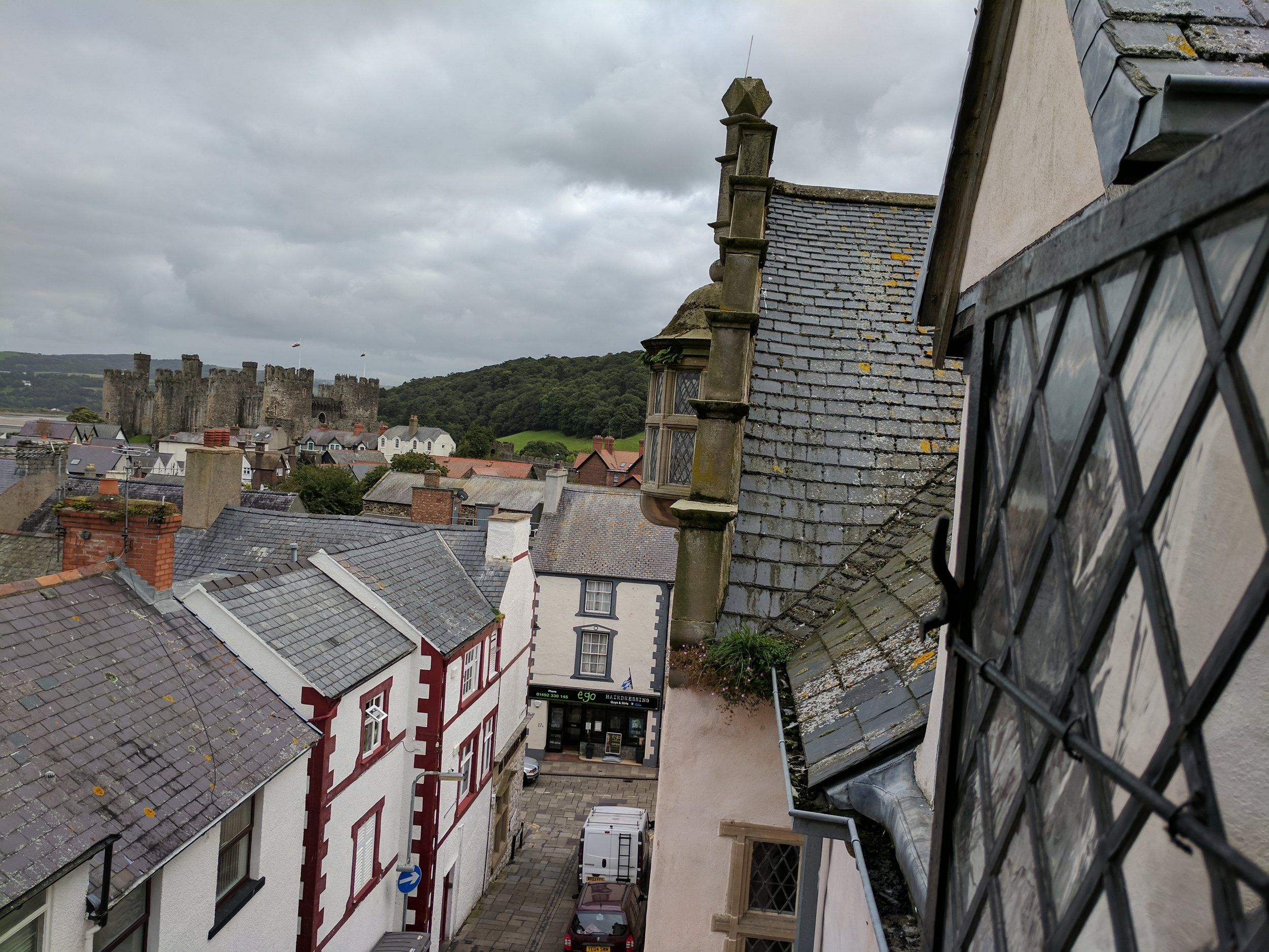 View of the Conwy Castle from town