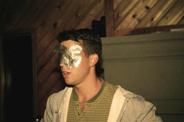 Emerald Isle, 1994 Magician Jon Finch performing his entire mindreading act blindfolded