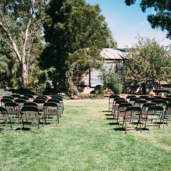 Set up for backyard ceremony