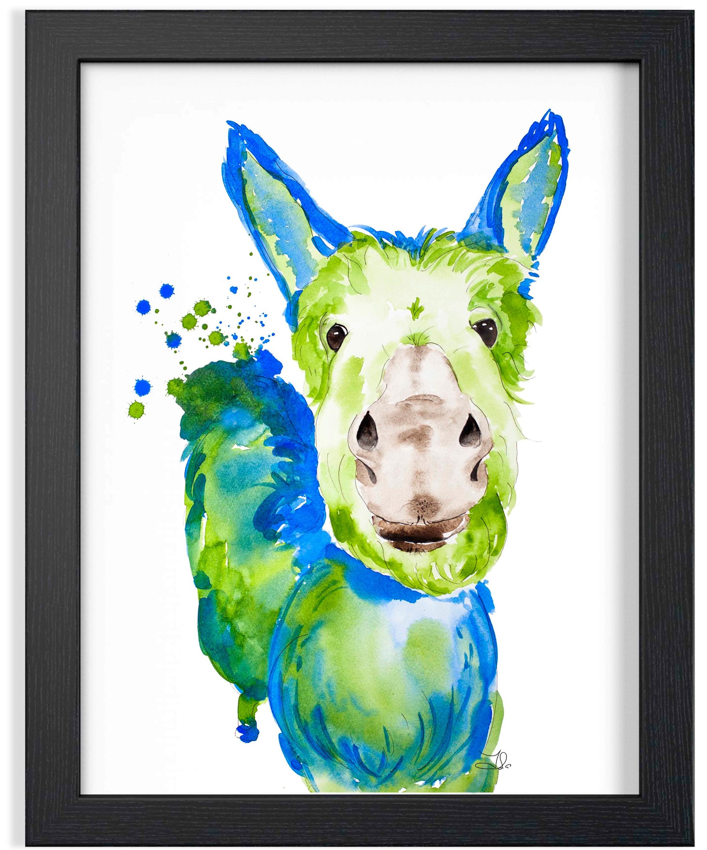"Donkey Watercolor  189. 00 $CA Fabriano Artistico 100% Cotton  Original watercolor painting 16 x 20"" (41 x 51 cm)"