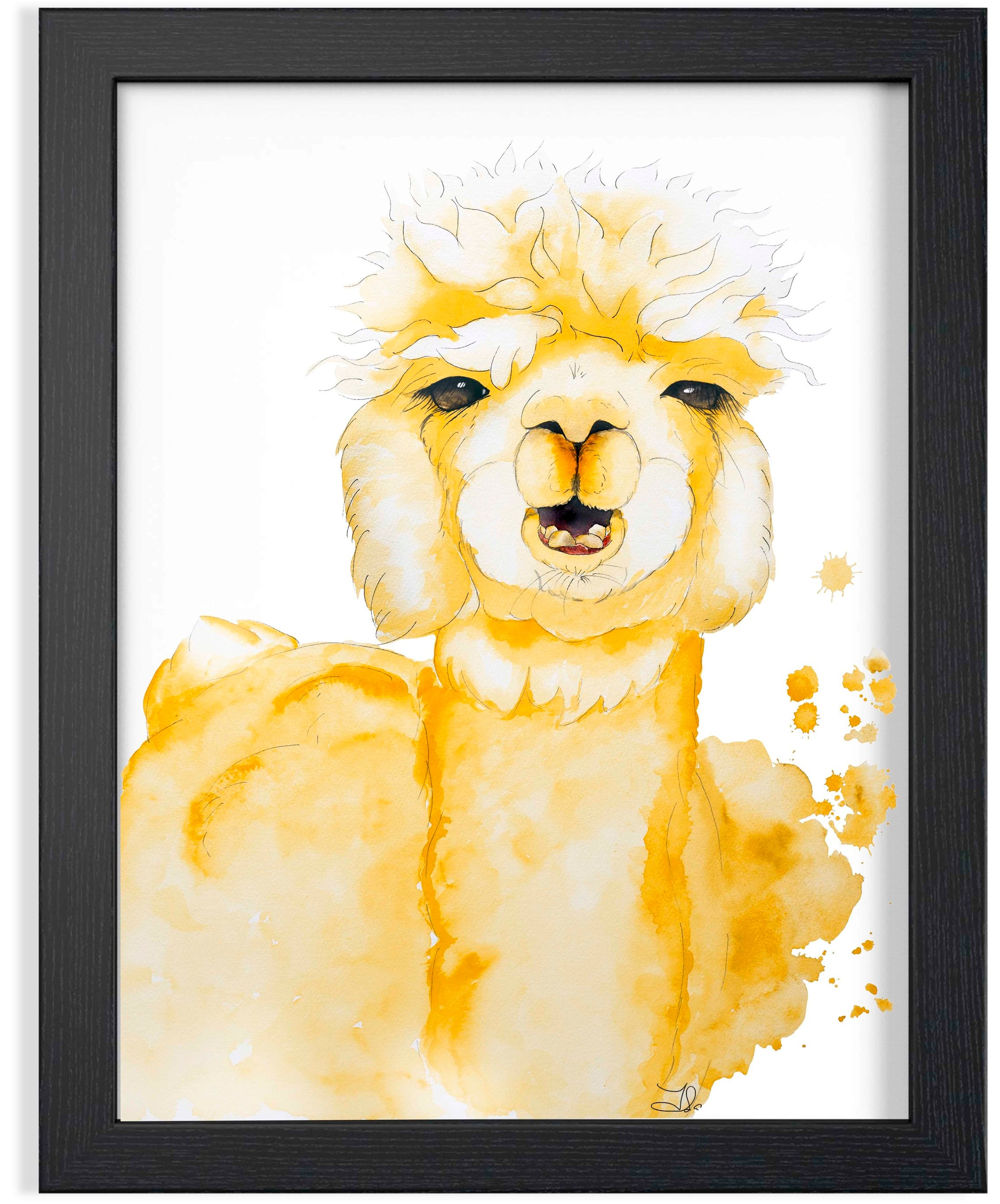 "Alpaca Watercolor  189. 00 $CA Fabriano Artistico 100% Cotton  Original watercolor painting 16 x 20"" (41 x 51 cm)"