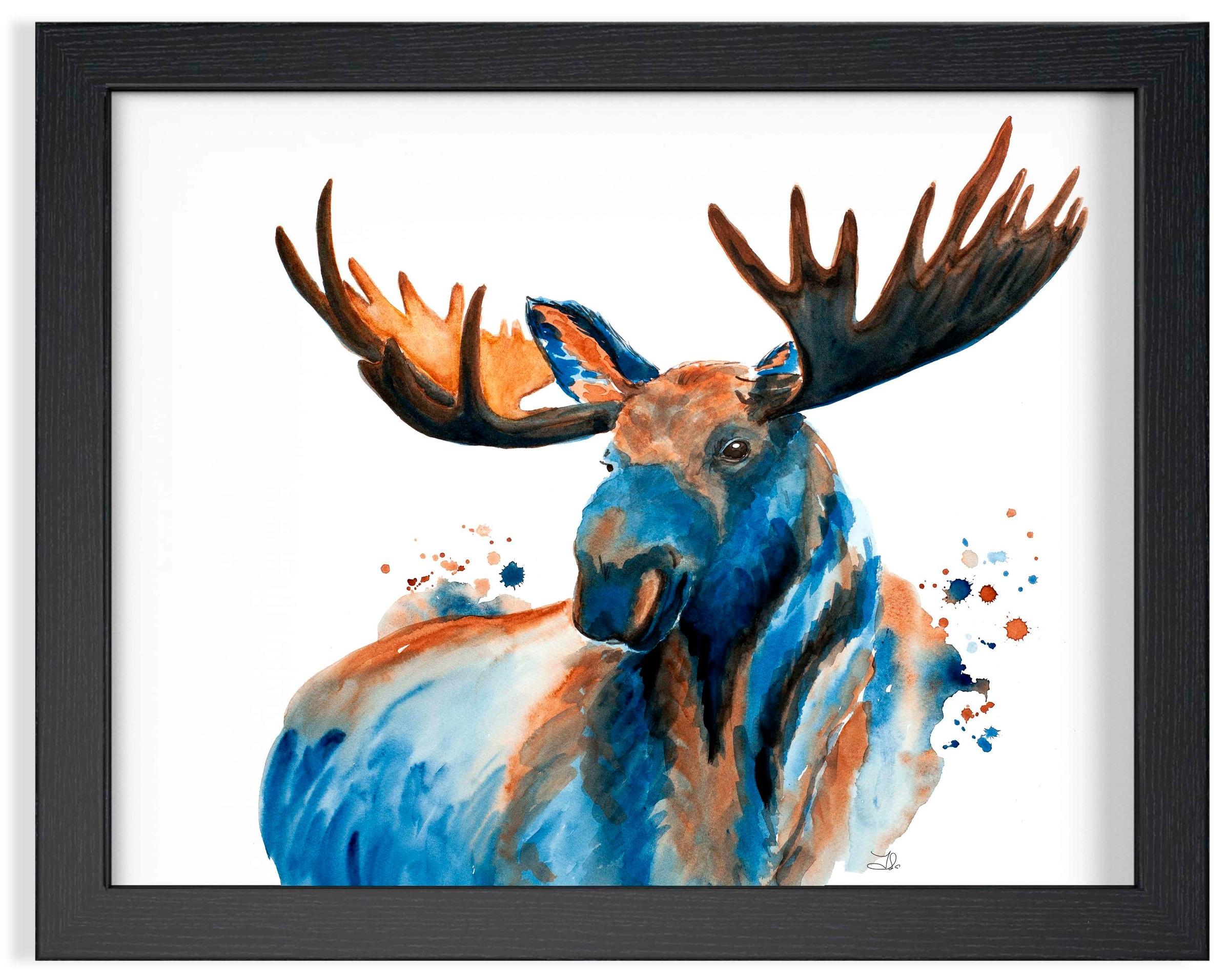 "Canadian Moose Watercolor  199. 00 $CA Fabriano Artistico 100% Cotton  Original watercolor painting 16 x 20"" (41 x 51 cm)"