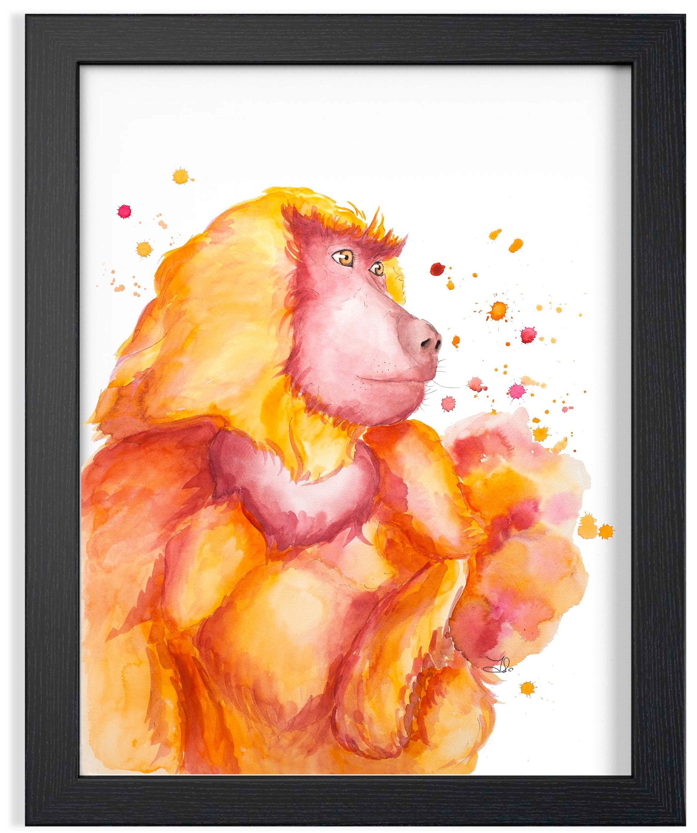 "Chrissy Baboon Watercolor Portrait  269. 00 $CA Fabriano Artistico 100% Cotton  Original watercolor painting 18 x 22"" (46 x 56 cm)"