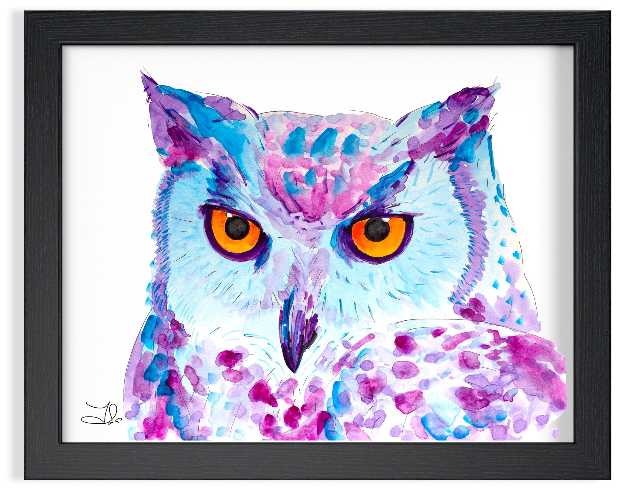 "Snowy Owl Watercolor  89. 00 $CA Strathmore Vision 300 gsm  Original watercolor painting 9 x 10 1/2"" (23 x 27 cm)"
