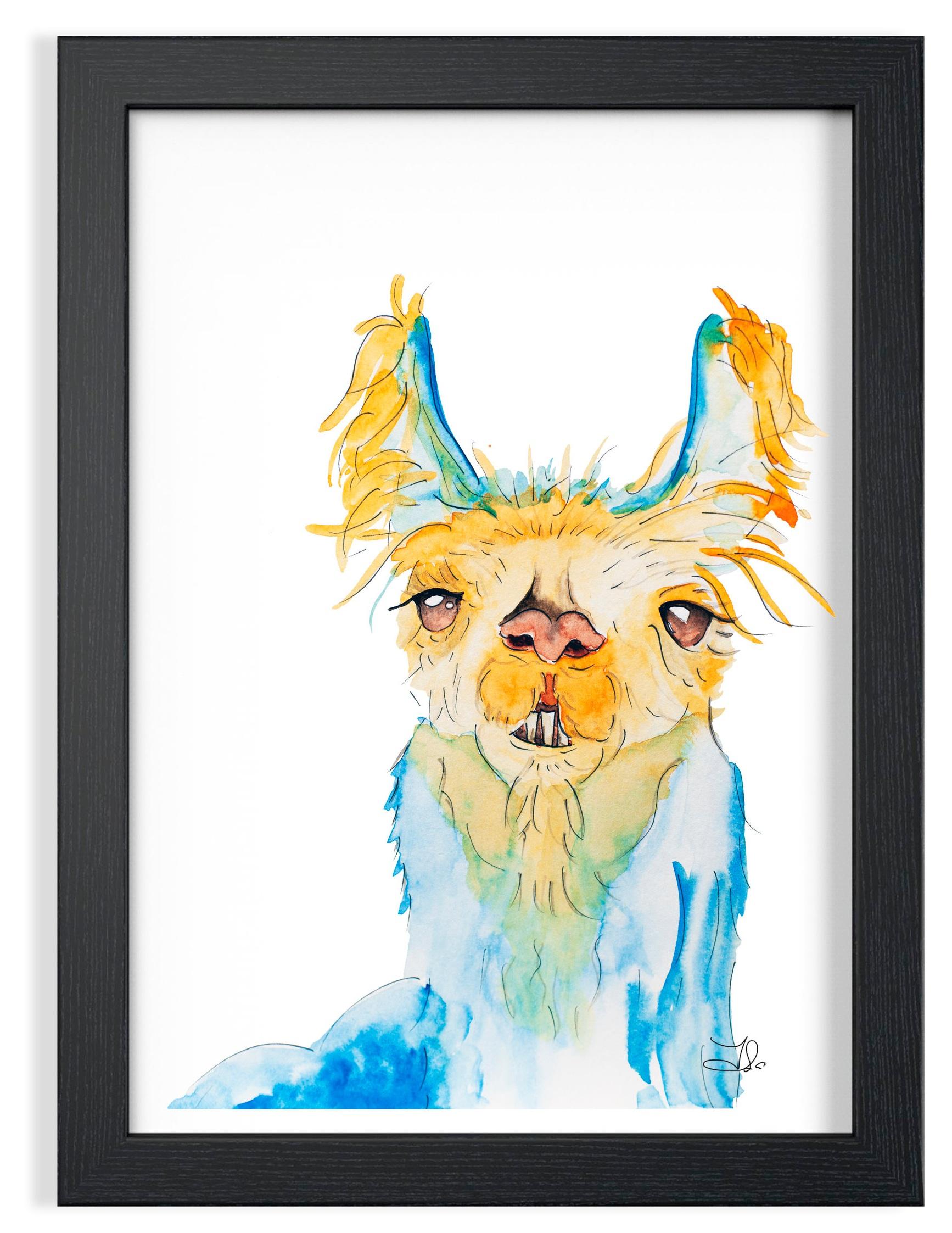 """Llama Watercolor  99. 00 $CA Strathmore Vision 300 gsm  Original watercolor painting 9 x 12"""" (23 x 30 cm)"""