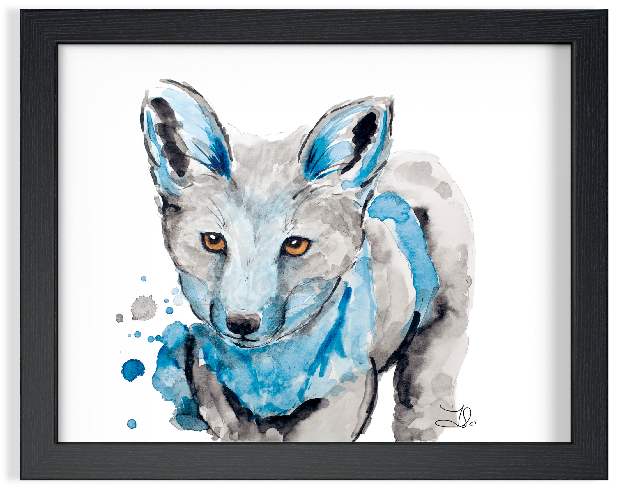 """Baby Fox Watercolor  SOLD Strathmore Vision 300 gsm  Original watercolor painting 8 x 10"""" (20 x 25 cm)"""