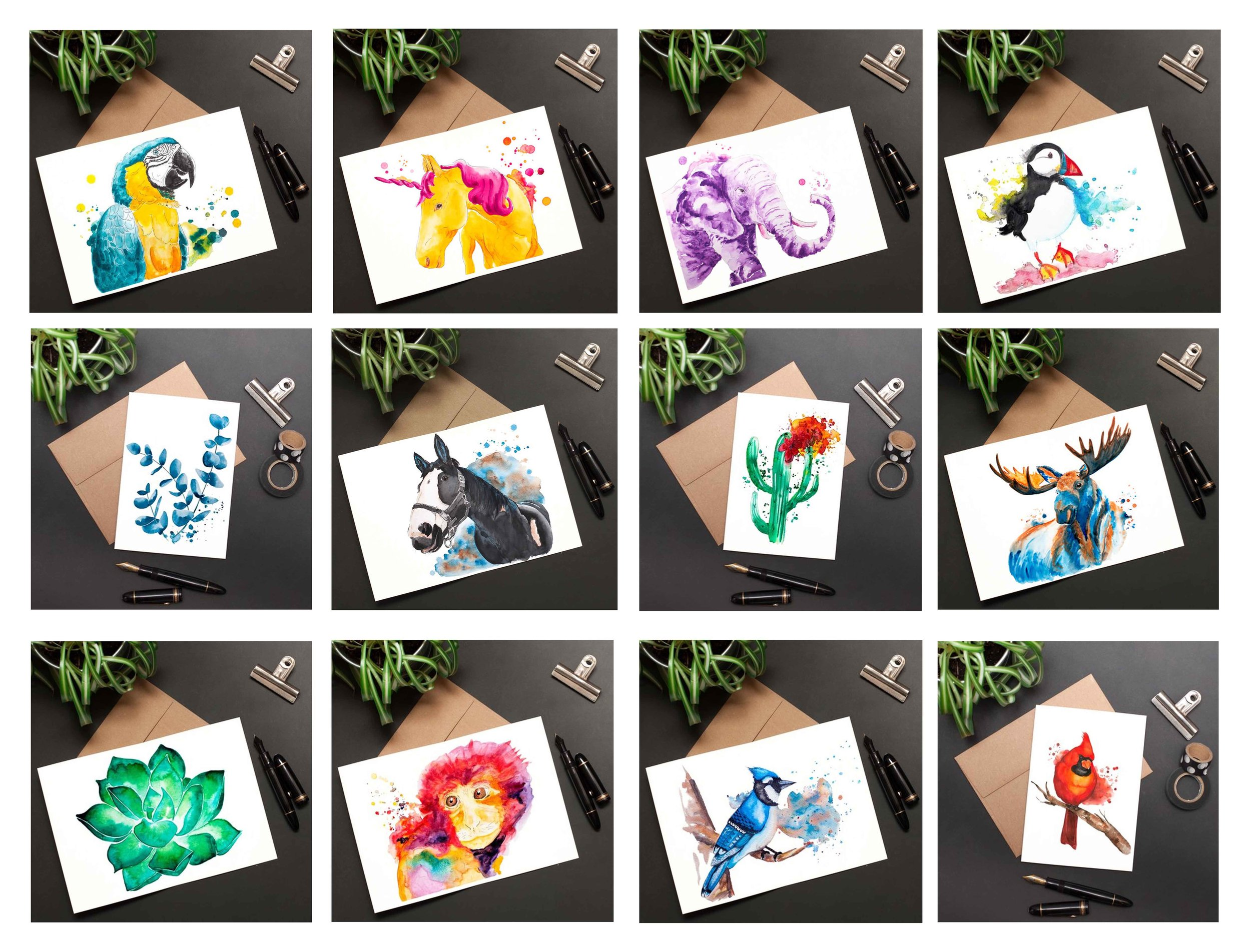 An overview of our collection of colorful and fun watercolor greeting cards that can be framed.