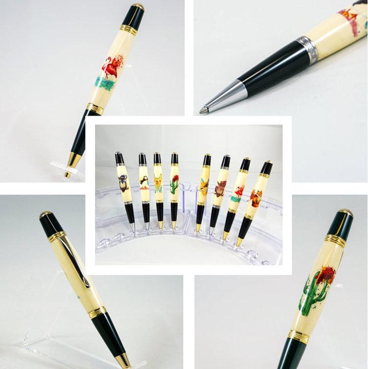Aquarelle sur stylo - Une collaboration colorée avec mbArtisan! Les aquarelles éclatées de Ces Ptits Pigments sur stylos en bois tourné de qualité !