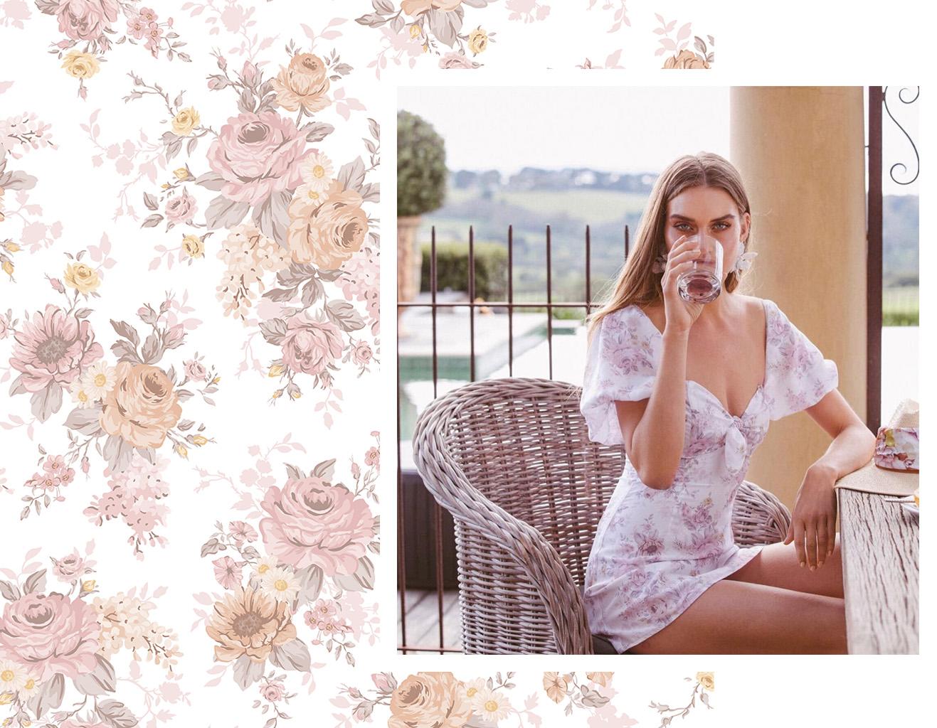 Custom Floral Textile Print Design for SOFIA. By the Design Parlour, print design studio melbourne