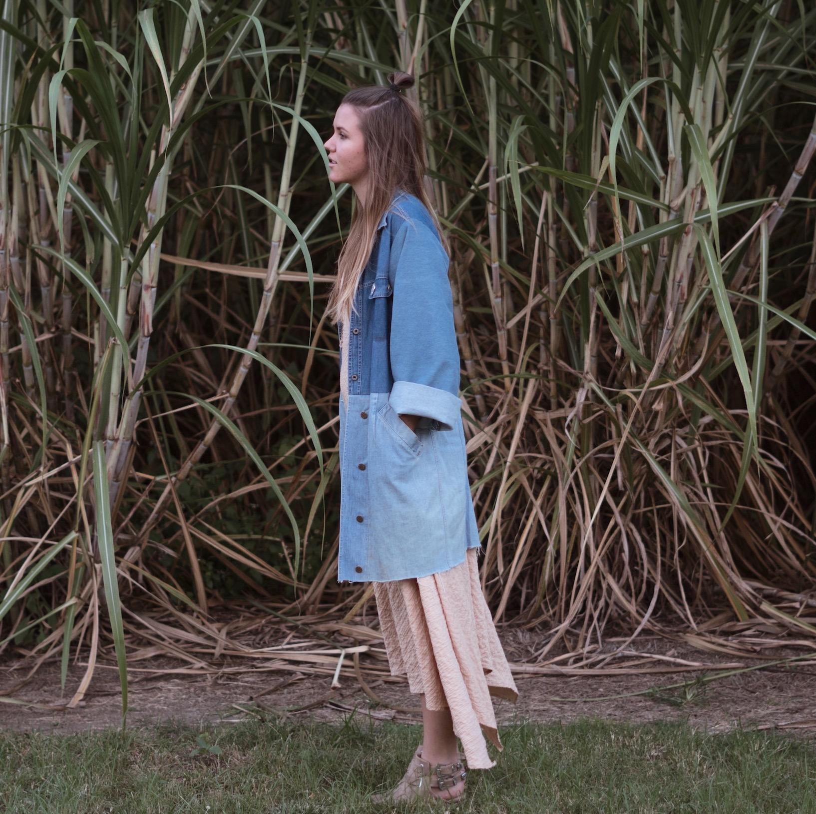 diy: denim patchwork trench coat -