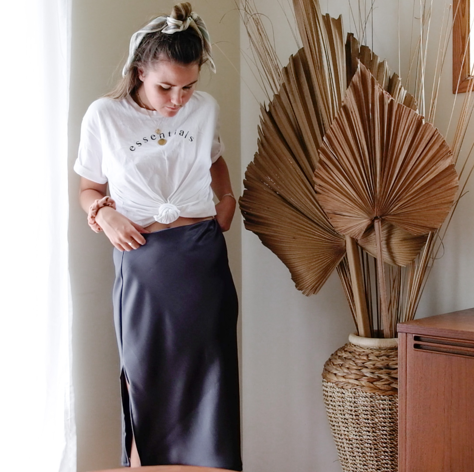 diy: silk bias slip skirt with leg split -