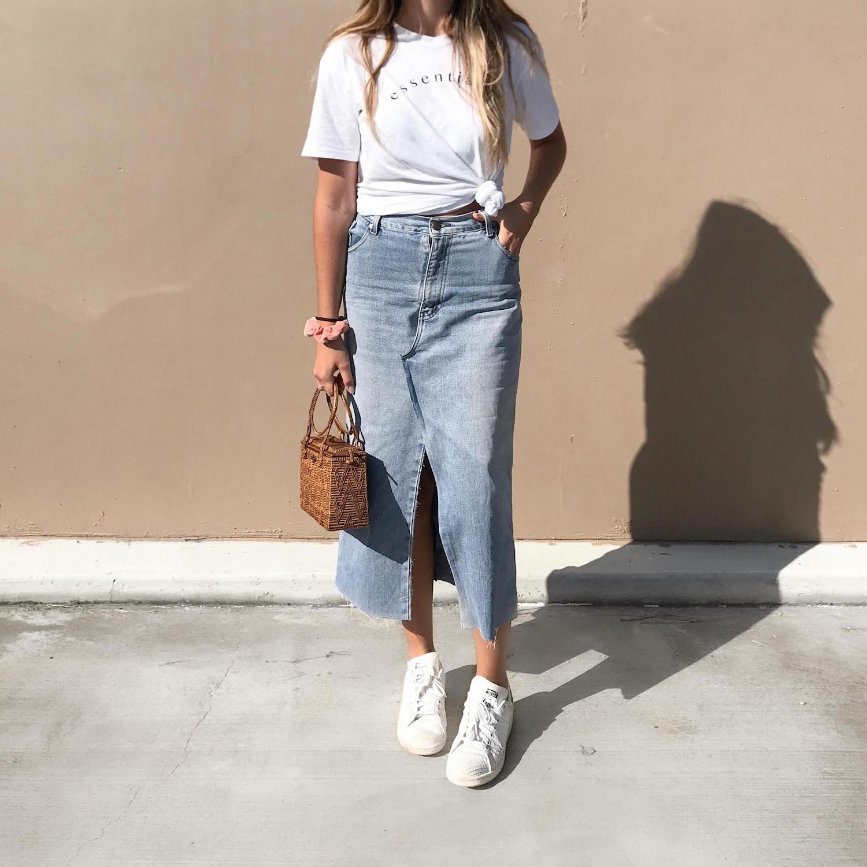 .. to a denim skirt (midi or mini) -