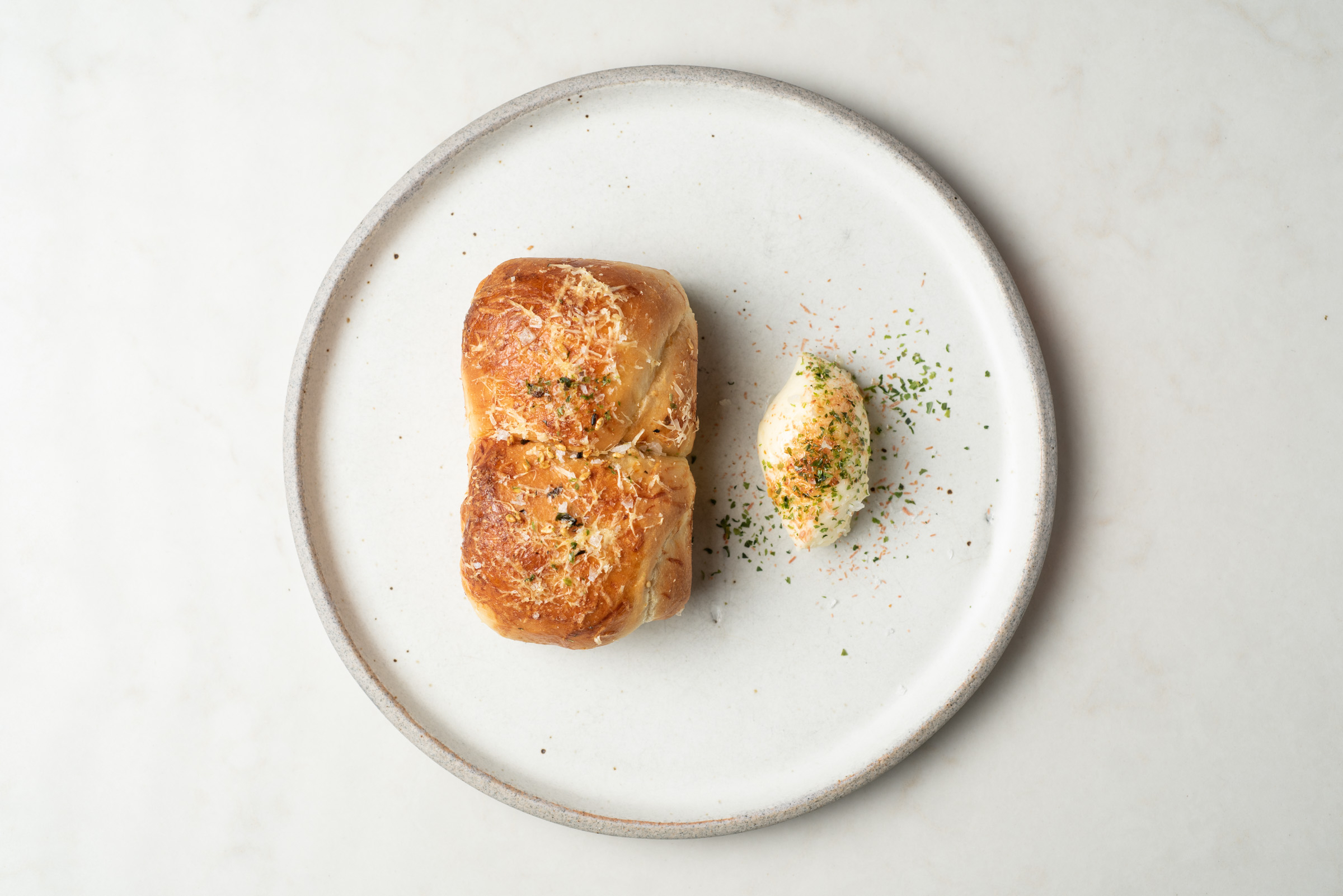 Orsa & Winston, downtown Los Angeles. Milkbread focaccia with nori cultured butter.