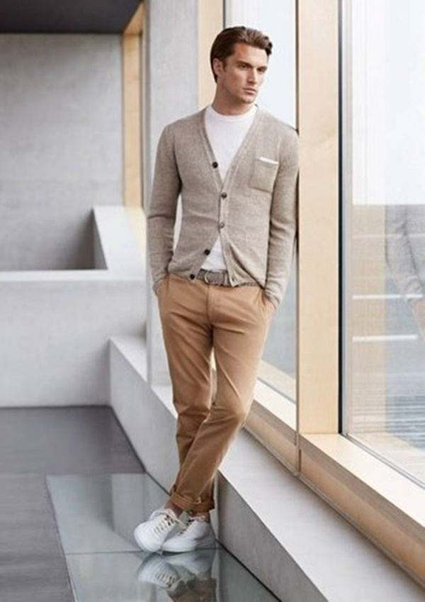 - It can be great for your workplace. White t-shirt, khaki chinos and a grey cardigan that's the combination you need to wear a white sneaker.