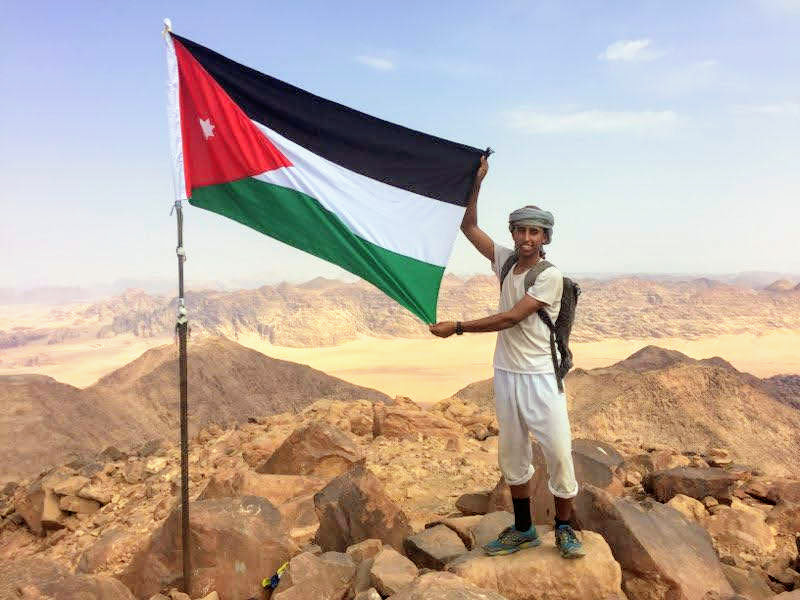 Our guide Raid Abdullah on top of one of Wadi Rum's peaks. Photo taken by our guest Cristi Trufas from the USA.