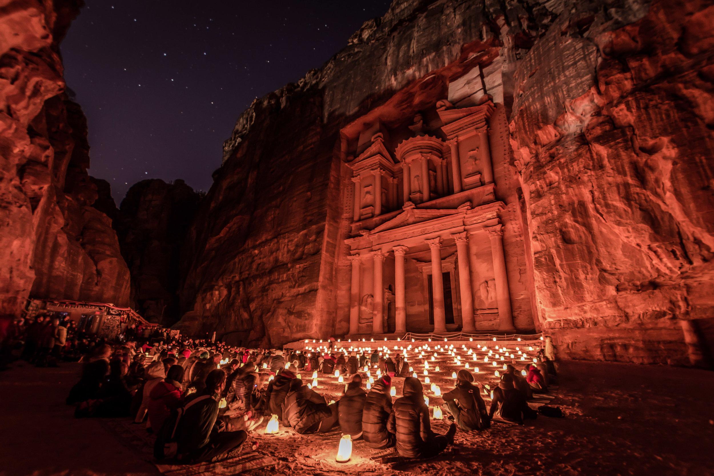 Petra's Treasury after dark. Photograph by Mustafa Waad Saeed, distributed under  CC BY-SA 4.0  license.