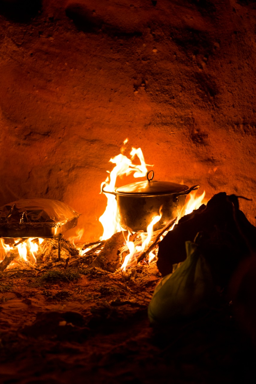 Camp Fire for Sleeping Under the Stars in Wadi Rum