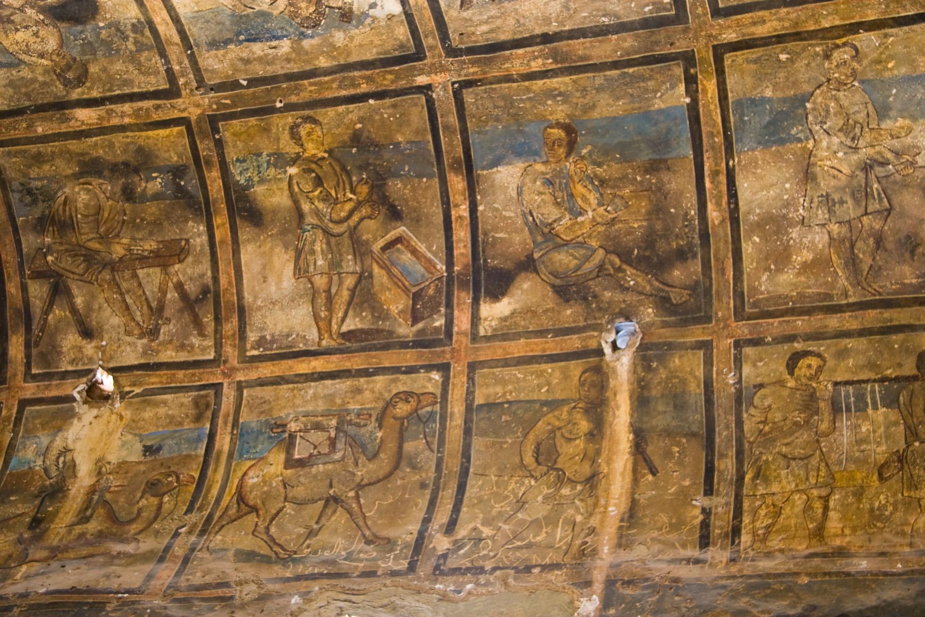 Frescoes inside Qasr Amra. Photo taken by David Bjorgen, distributed under  CC BY-SA 4.0  license.