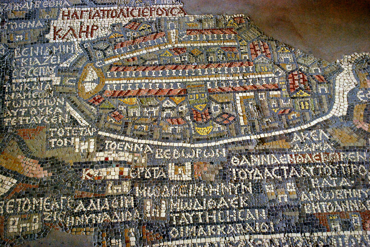 A section of the Madaba Map mosaic. Photo taken by Jean Housen, distributed under  CC BY-SA 3.0  license.