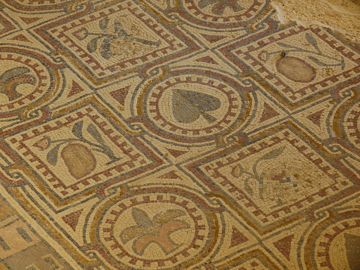 A section of the mosaic floor at Umm ar-Rasas. Photo taken by xorge, distributed under  CC BY-SA 2.0  license.