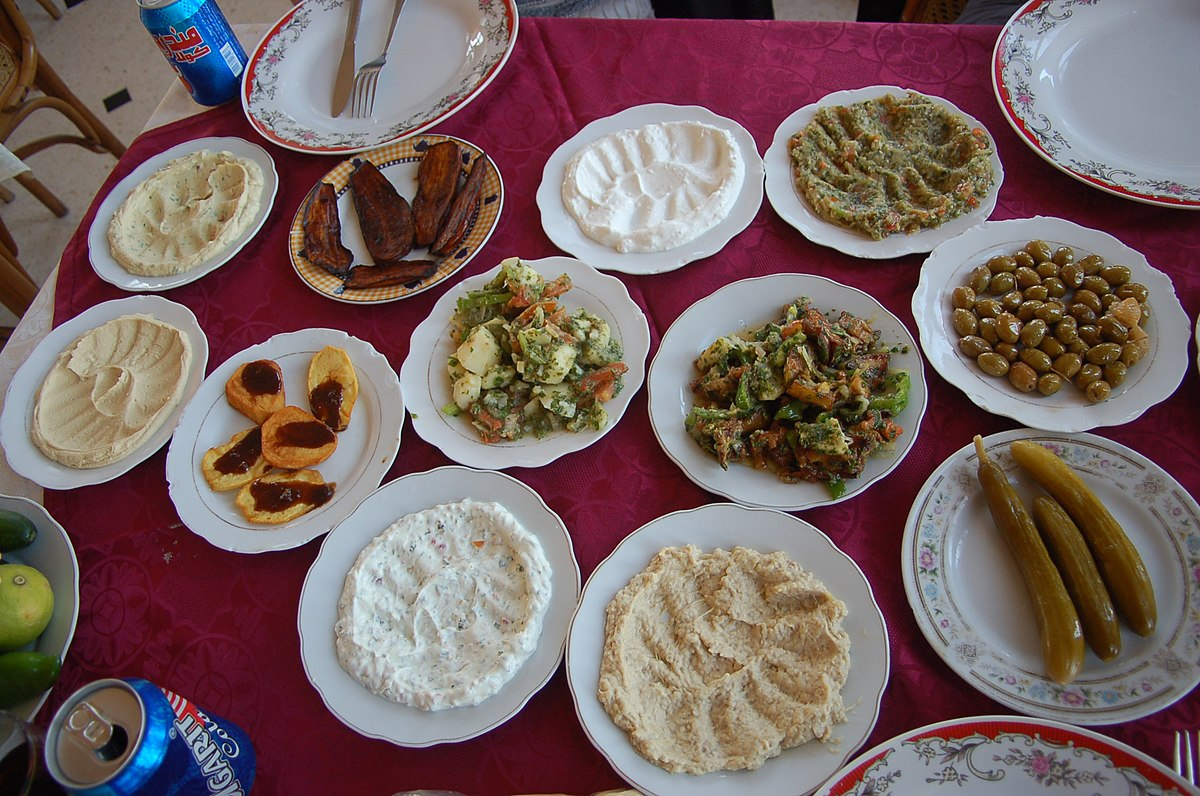 A typical mezze. Photo taken be Dan, distributed under  CC BY-SA 2.0  license.